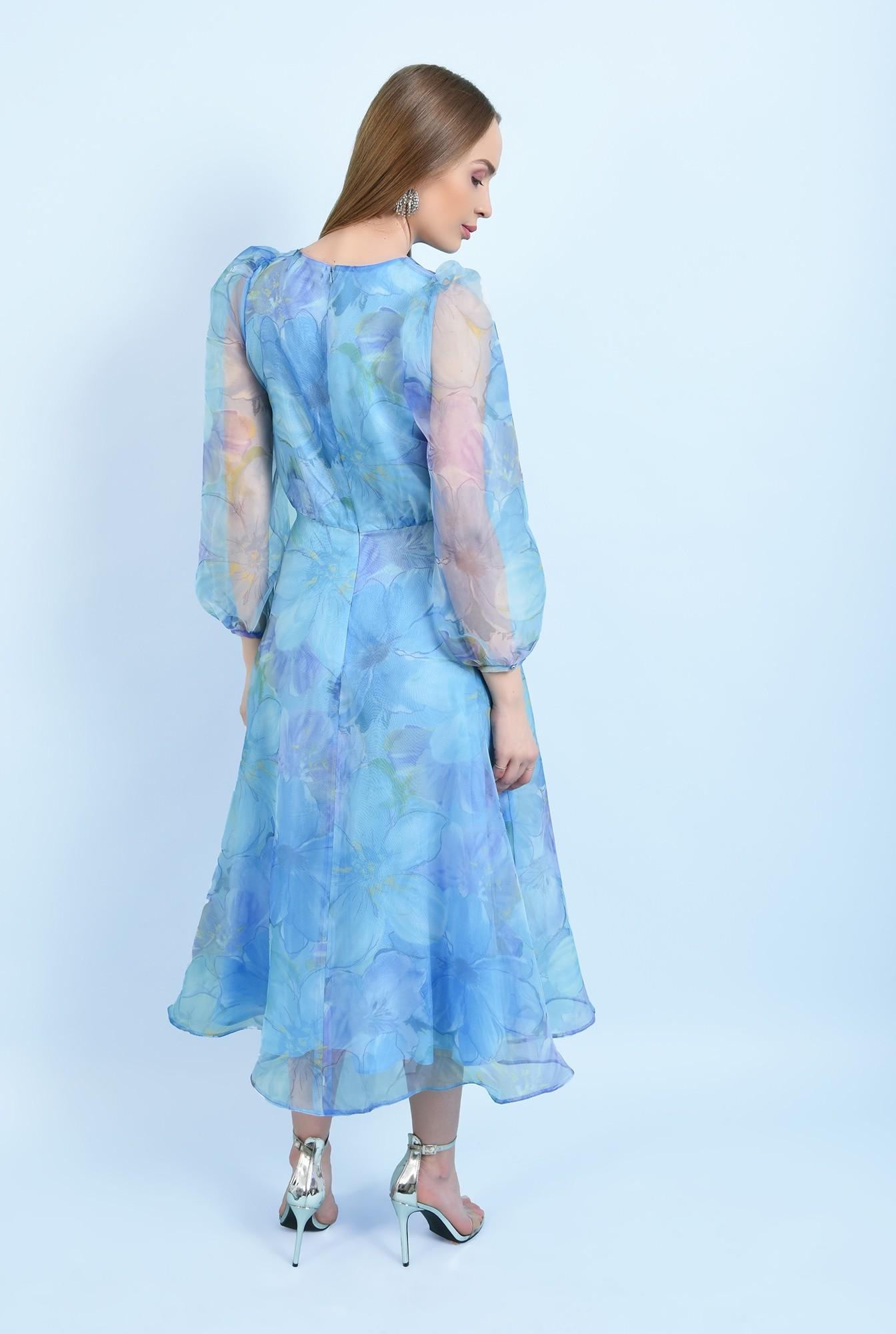 1 - 360 - rochie lunga, eleganta, din organza, maneci bufante, imprimeu floral