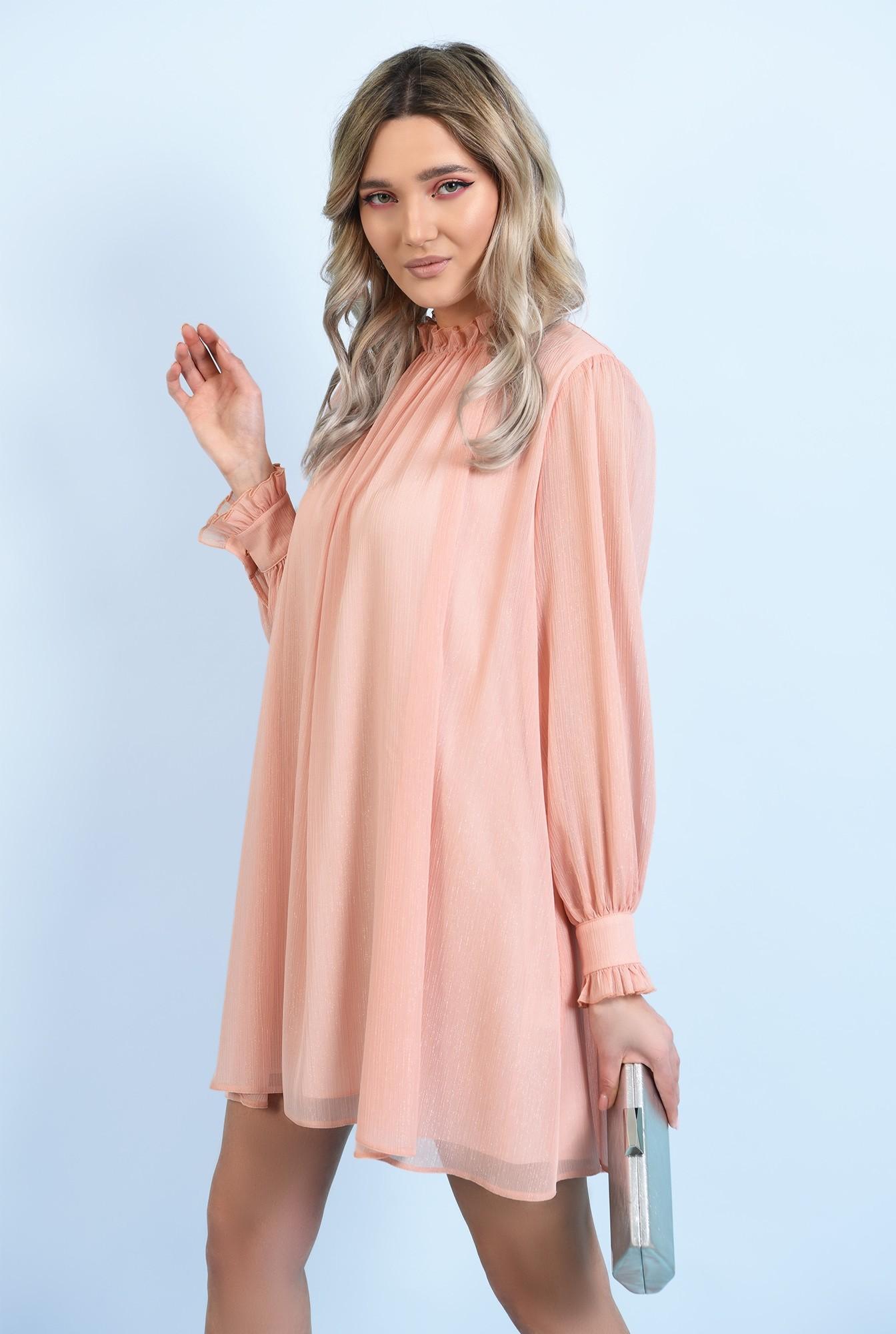 2 - 360 -  rochie scurta, eleganta, evazata, din sifon creponat, cu fir, nasture bijuterie