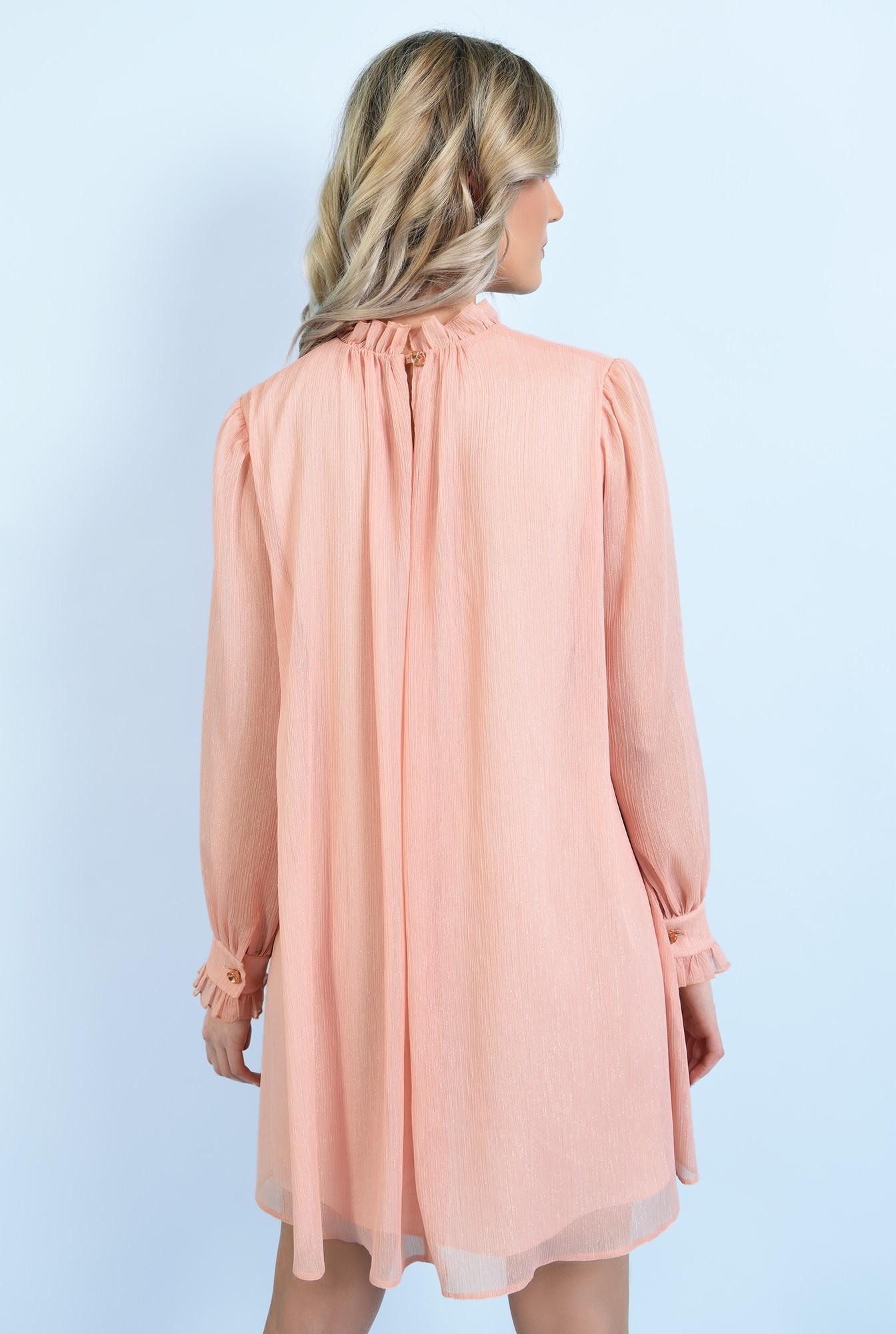 1 - 360 -  rochie scurta, eleganta, evazata, din sifon creponat, cu fir, nasture bijuterie