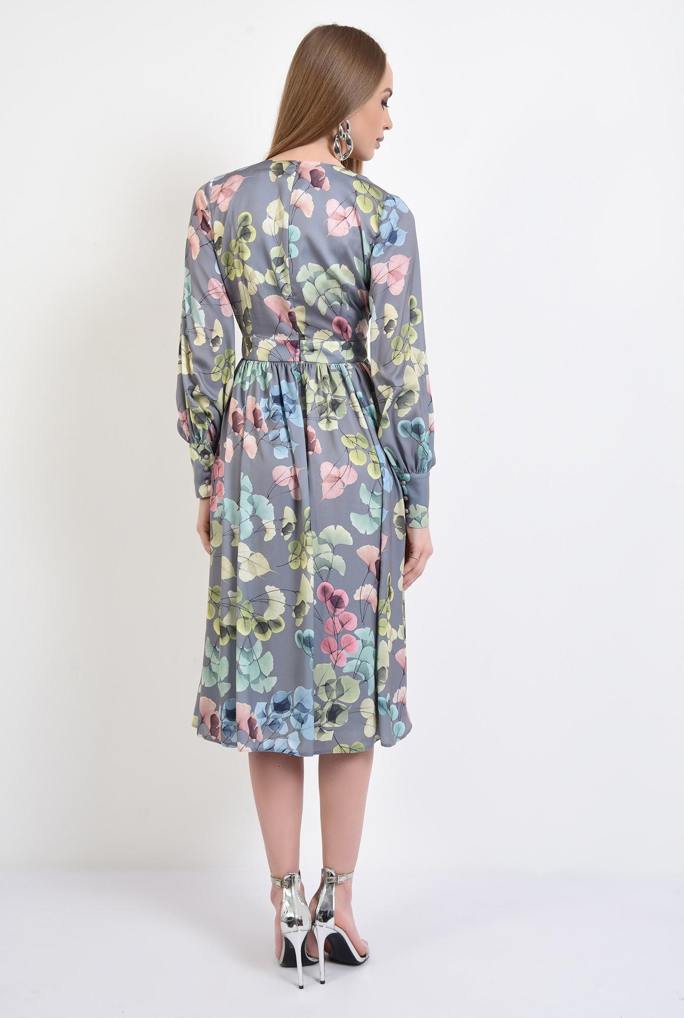 1 - 360 - rochie eleganta, midi, cu flori, maneci lungi, anchior, betelie contur