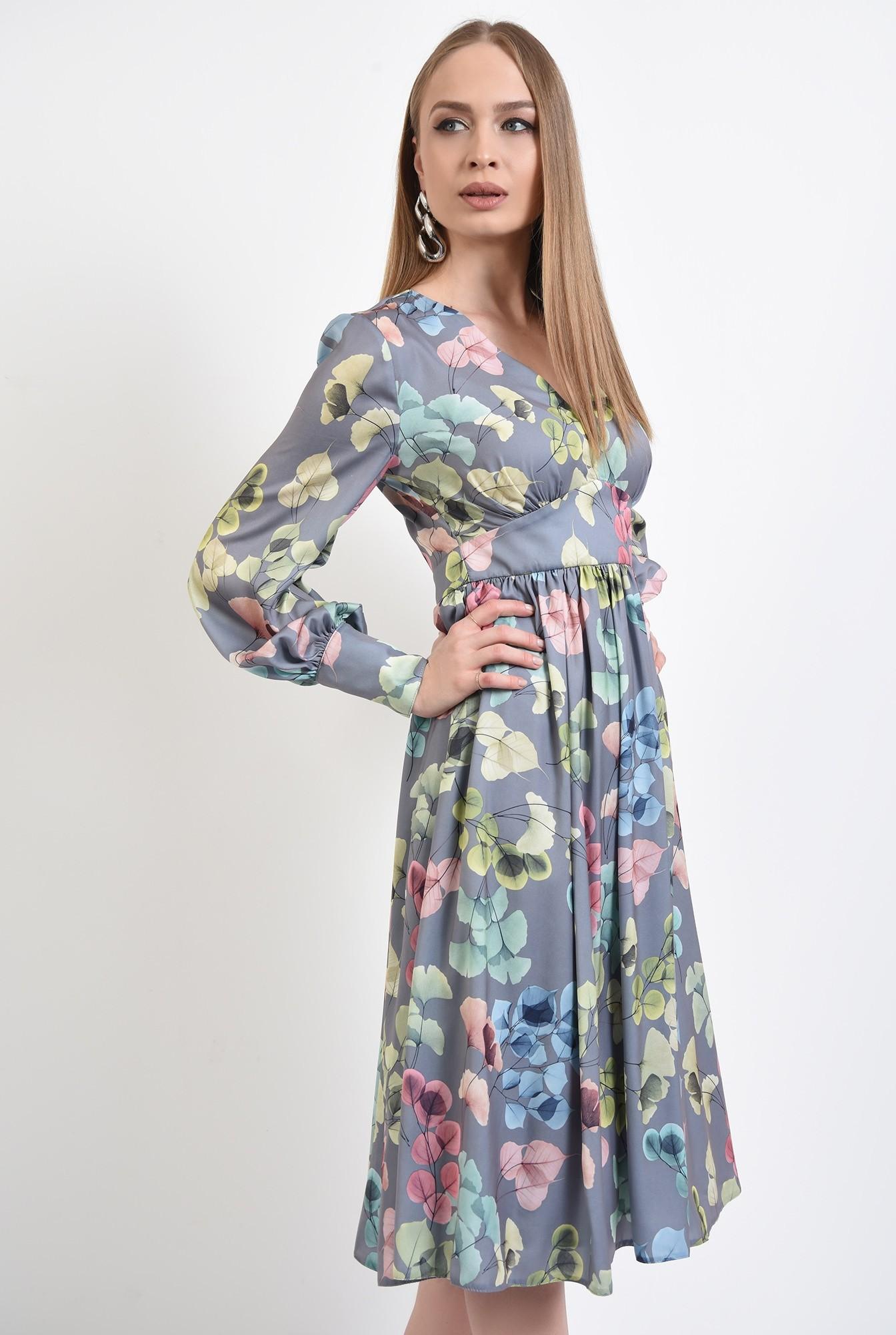 0 - 360 - rochie eleganta, midi, cu flori, maneci lungi, anchior, betelie contur