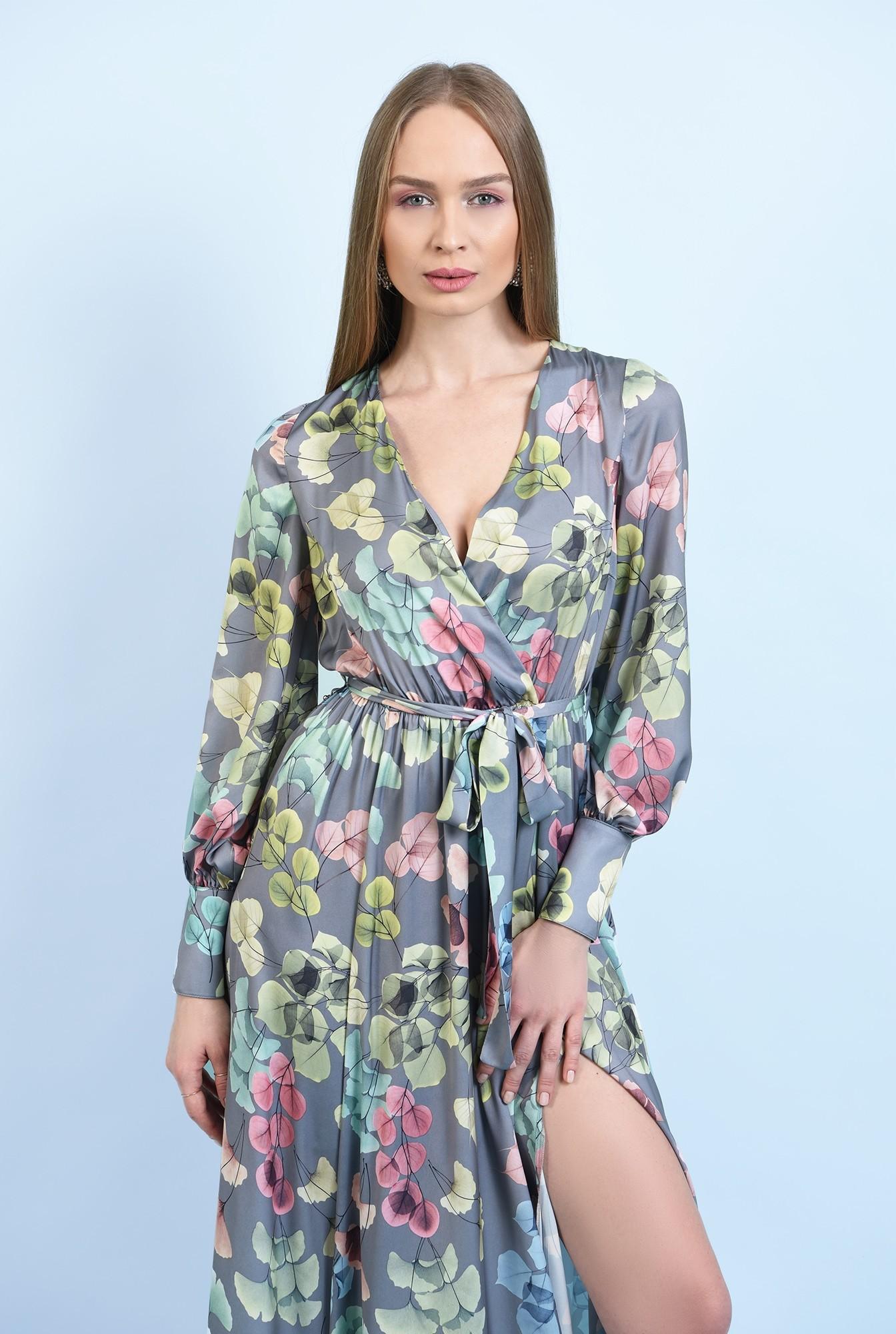 2 - rochie eleganta, cu slit, maxi, evazata, cu cordon, maneci lungi