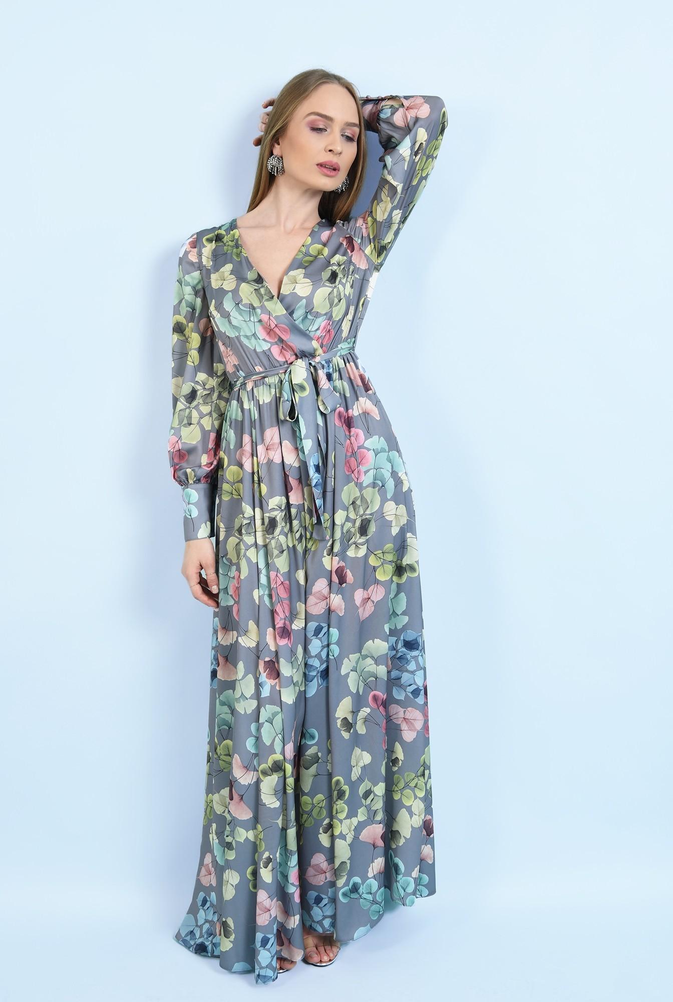 3 - rochie eleganta, cu slit, maxi, evazata, cu cordon, maneci lungi