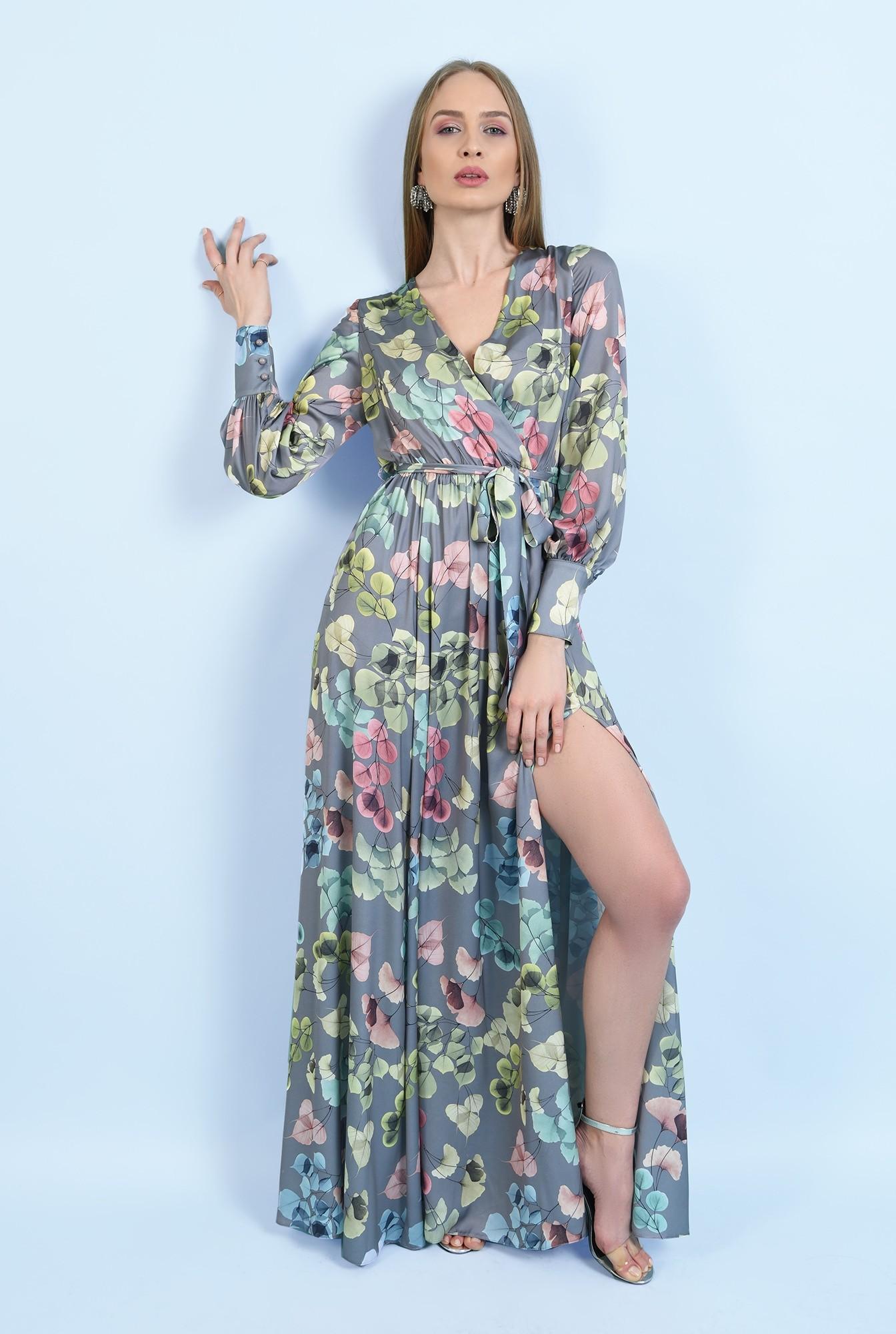 0 - rochie eleganta, cu slit, maxi, evazata, cu cordon, maneci lungi