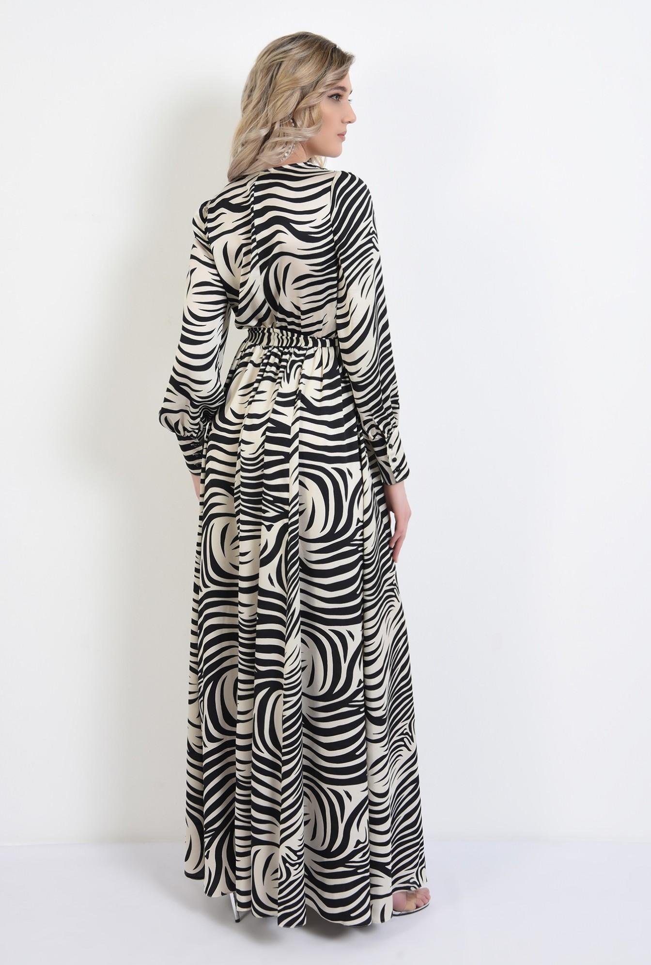 1 - rochie eleganta, cu slit, maxi, evazata, cu cordon, maneci lungi