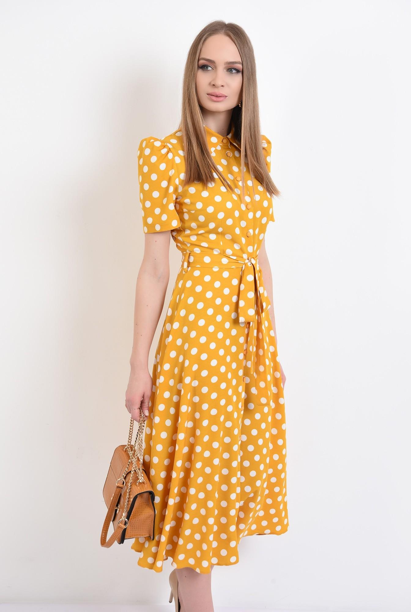 0 - 360 - rochie casual, evazata, cu nasturi, cu cordon, buline, Poema