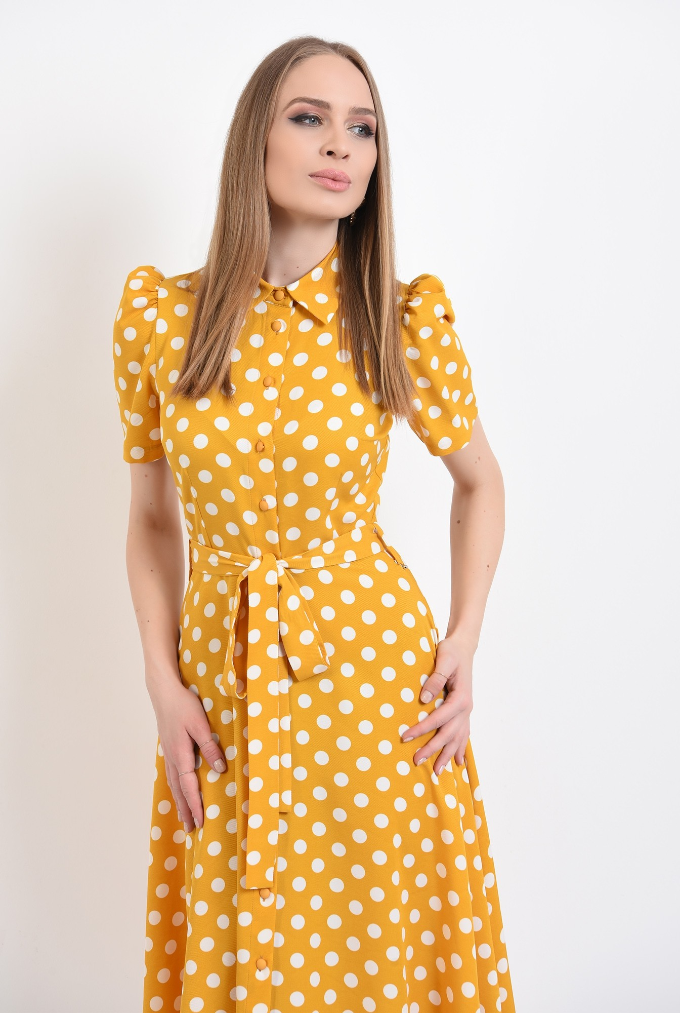 2 - 360 - rochie casual, evazata, cu nasturi, cu cordon, buline, Poema