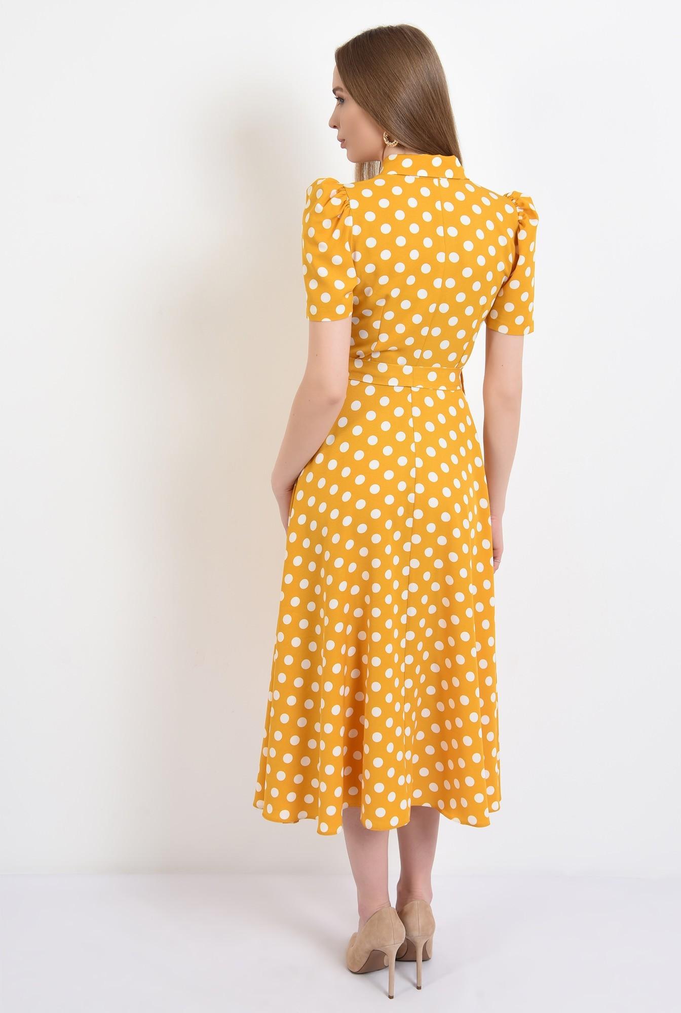 1 - 360 - rochie casual, evazata, cu nasturi, cu cordon, buline, Poema