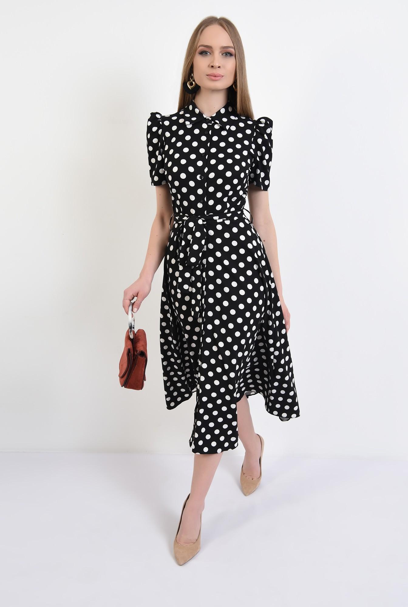 3 - rochie casual, evazata, cu nasturi, cu cordon, buline, Poema