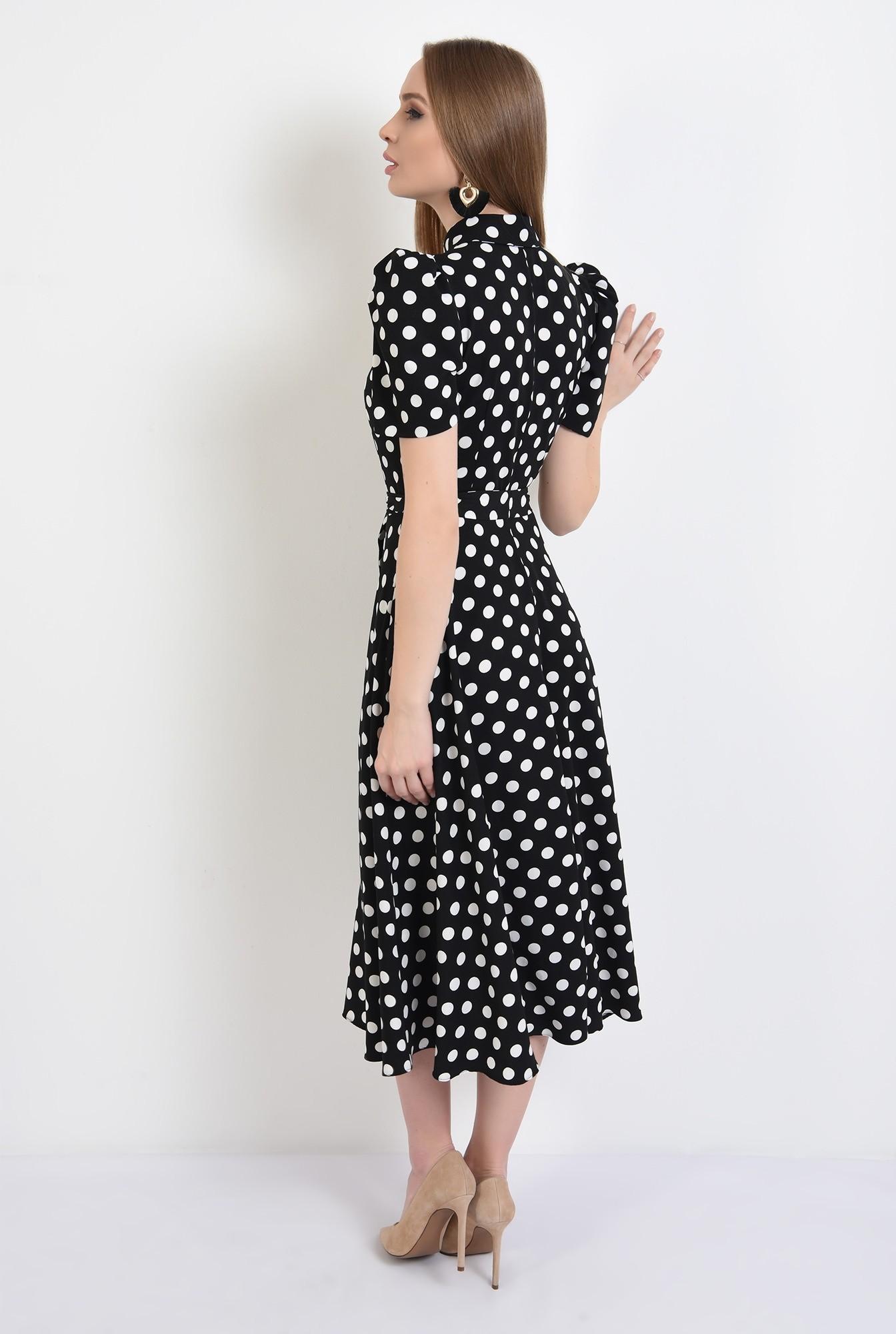 1 - rochie casual, evazata, cu nasturi, cu cordon, buline, Poema