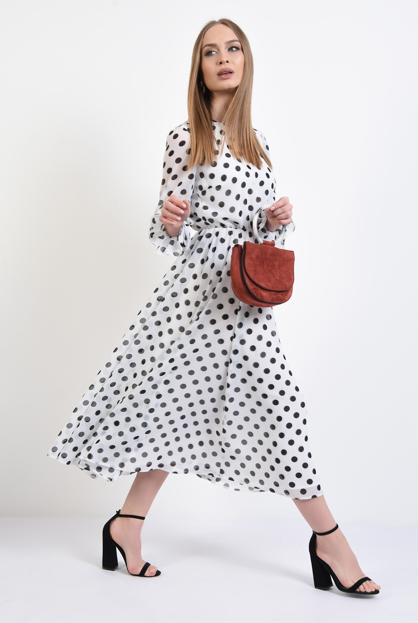 3 - 360 - rochie lunga, clos, cu buline, alb-negru, mansete volan, Poema