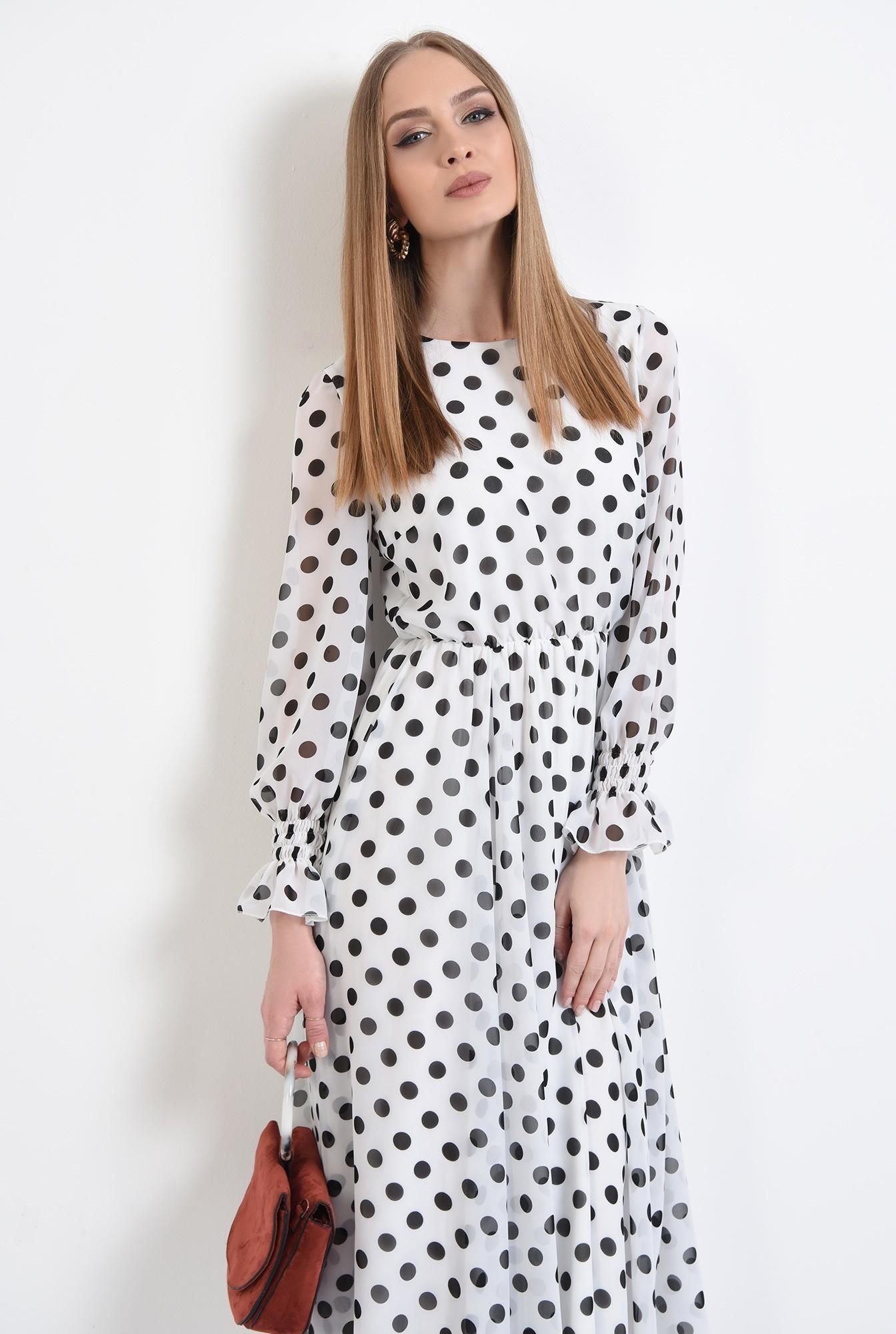 2 - 360 - rochie lunga, clos, cu buline, alb-negru, mansete volan, Poema