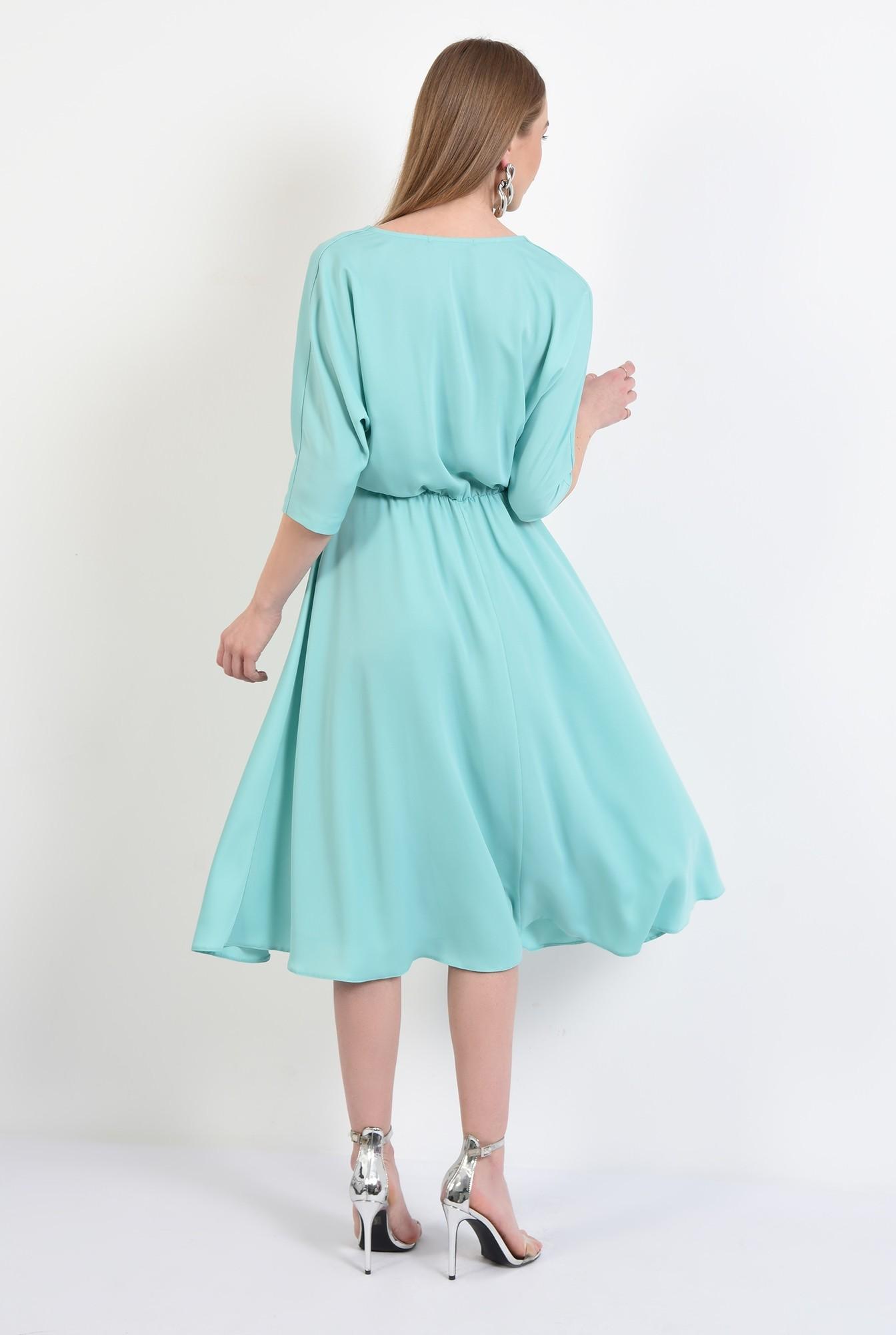 1 - 360 - rochie eleganta, midi, evazata, maneci liliac, anchior, Poema