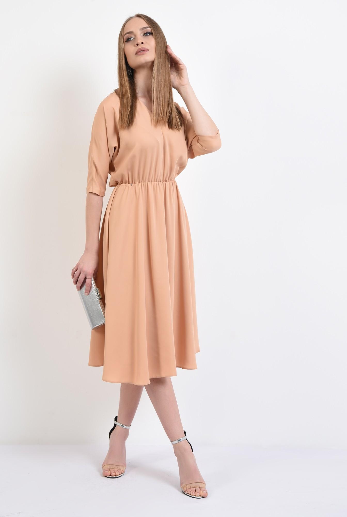 0 -  rochie eleganta, evazata, maneci liliac, croi clos, cu anchior, Poema
