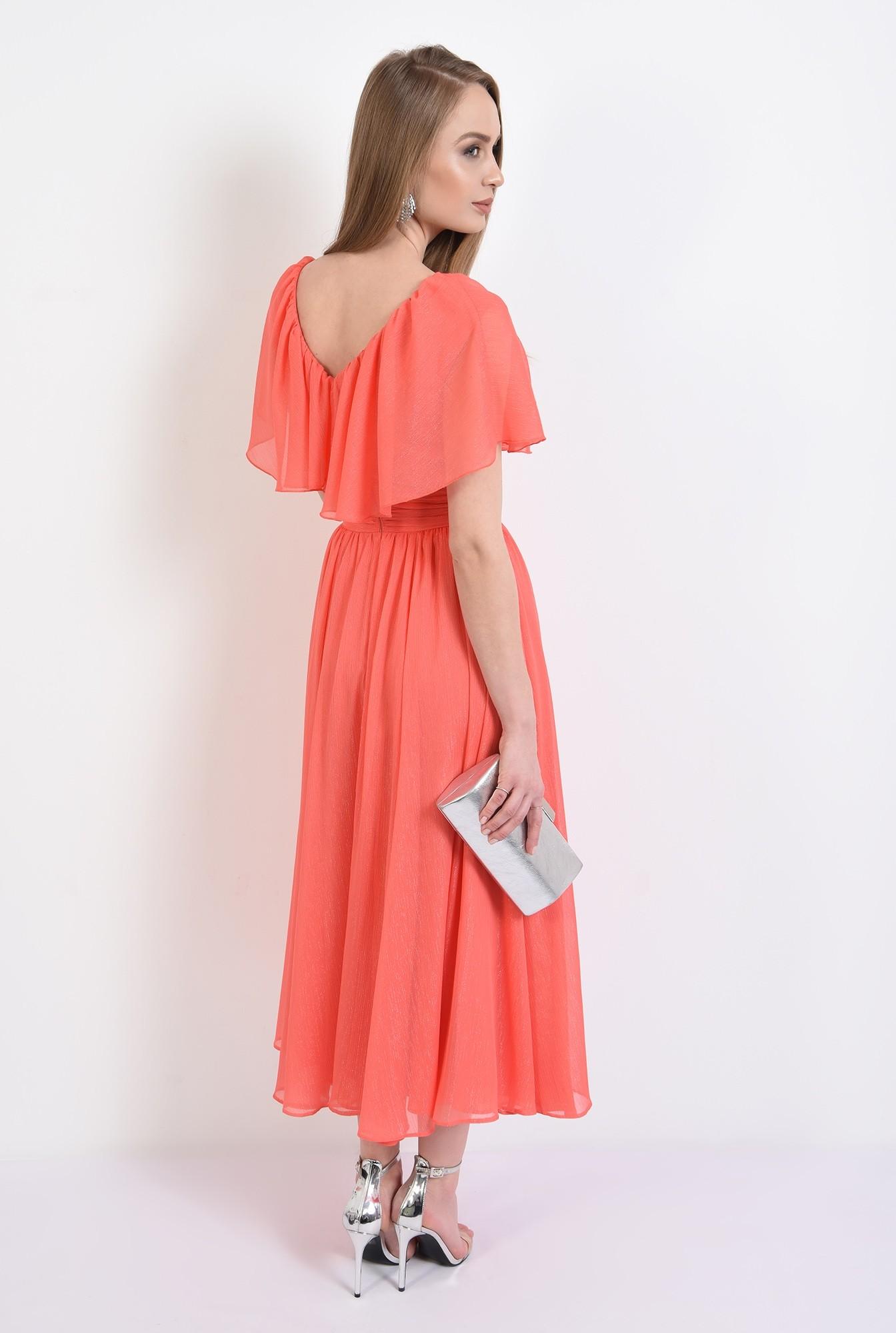 1 - rochie eleganta, midi, volan, brau fronsat, evazata, rochie de seara