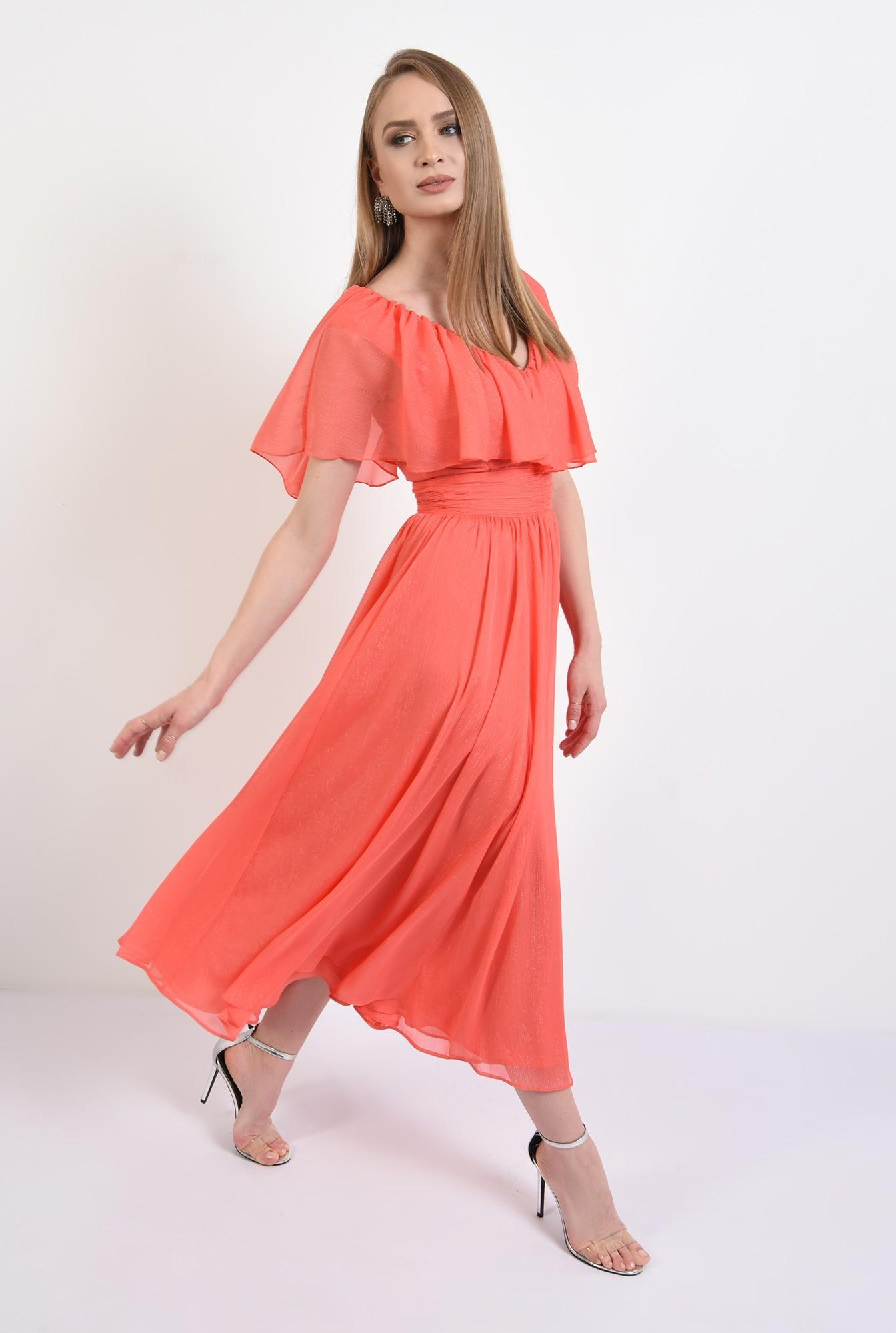 3 - rochie eleganta, midi, volan, brau fronsat, evazata, rochie de seara