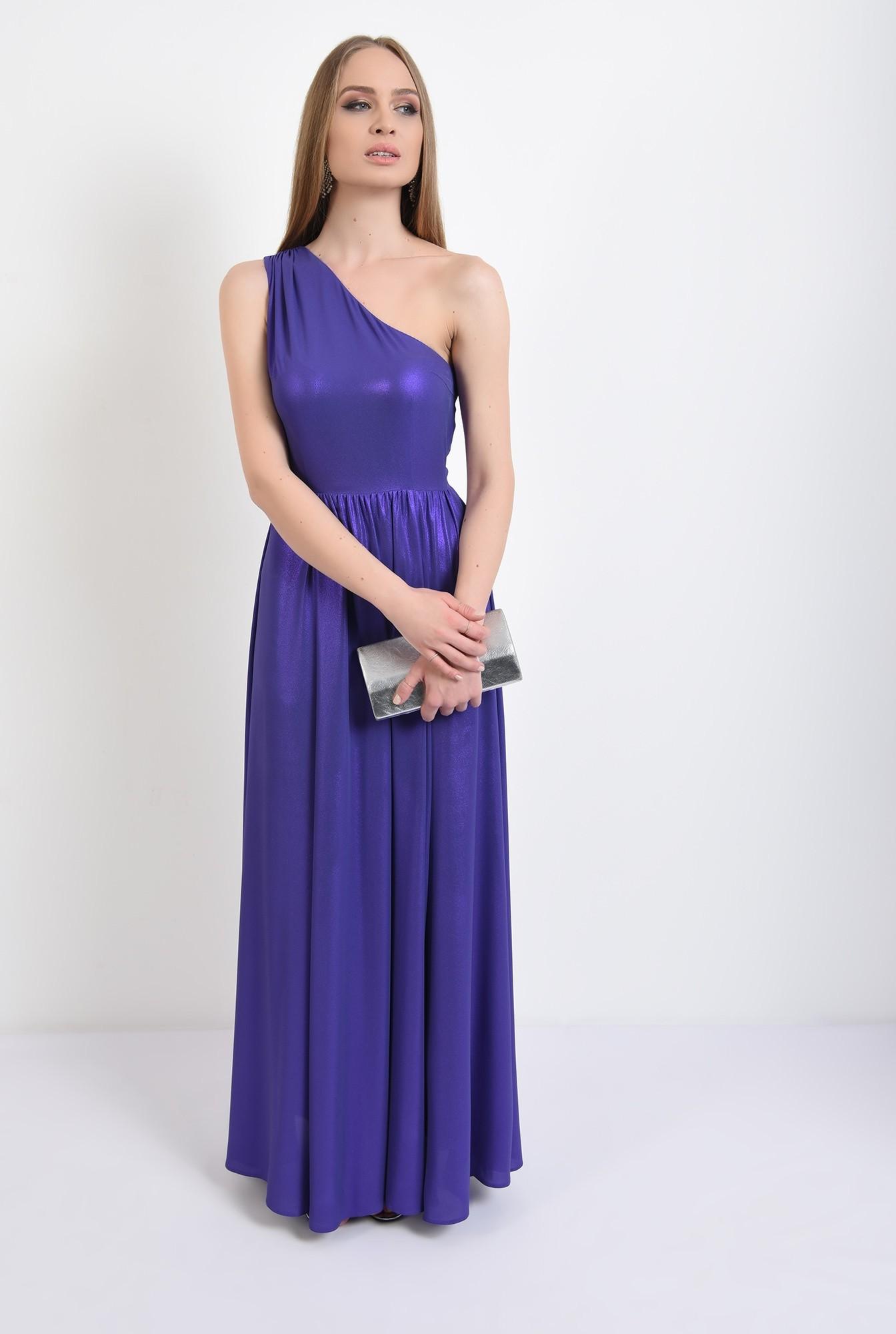 3 - 360 - rochie eleganta, cu crapeu, lunga, umar gol, pliuri la umar, Poema