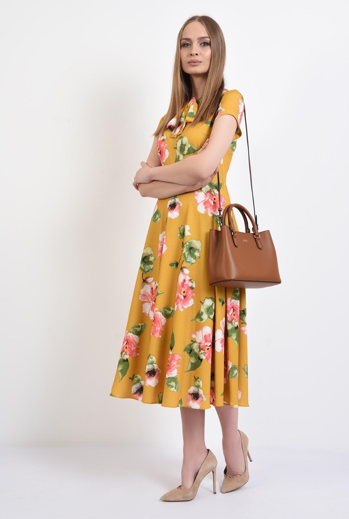 3 - 360 - rochie de primavara, midi, evazata, cu imprimeu floral, Poema