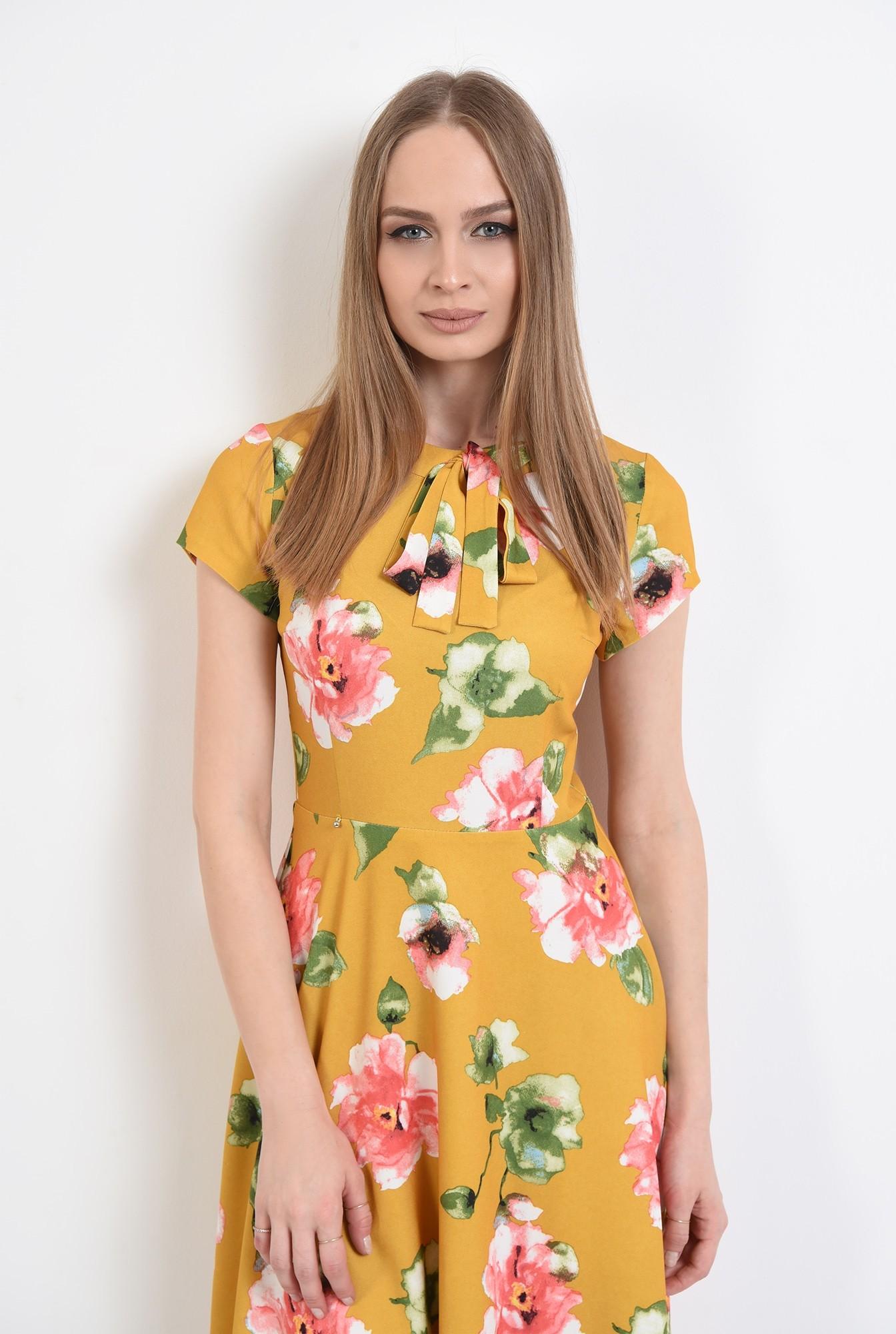 2 - 360 - rochie de primavara, midi, evazata, cu imprimeu floral, Poema