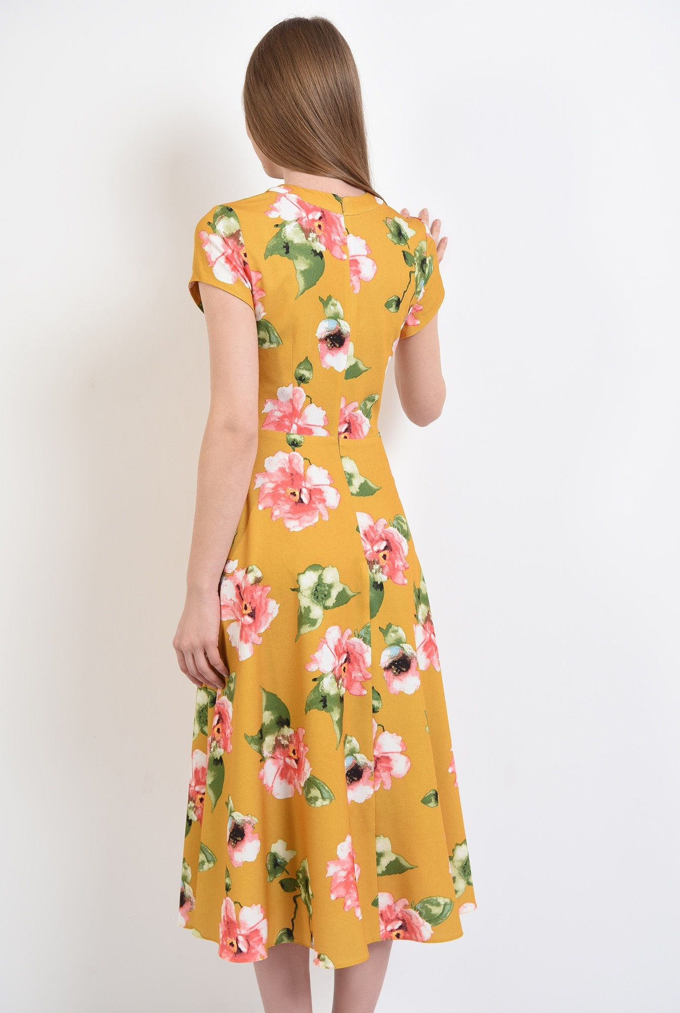 1 - 360 - rochie de primavara, midi, evazata, cu imprimeu floral, Poema
