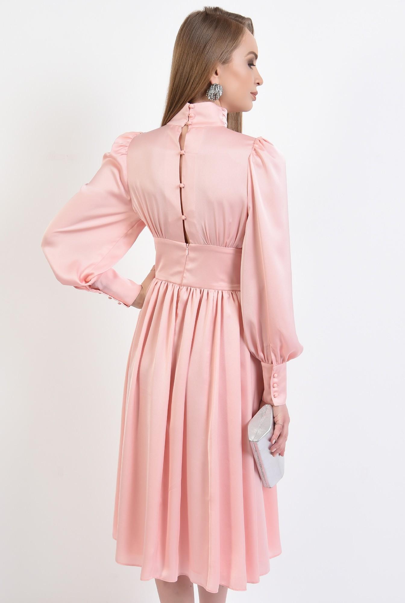 1 - 360 - rochie eleganta, din satin, evazata, midi, brau fronsat, roz