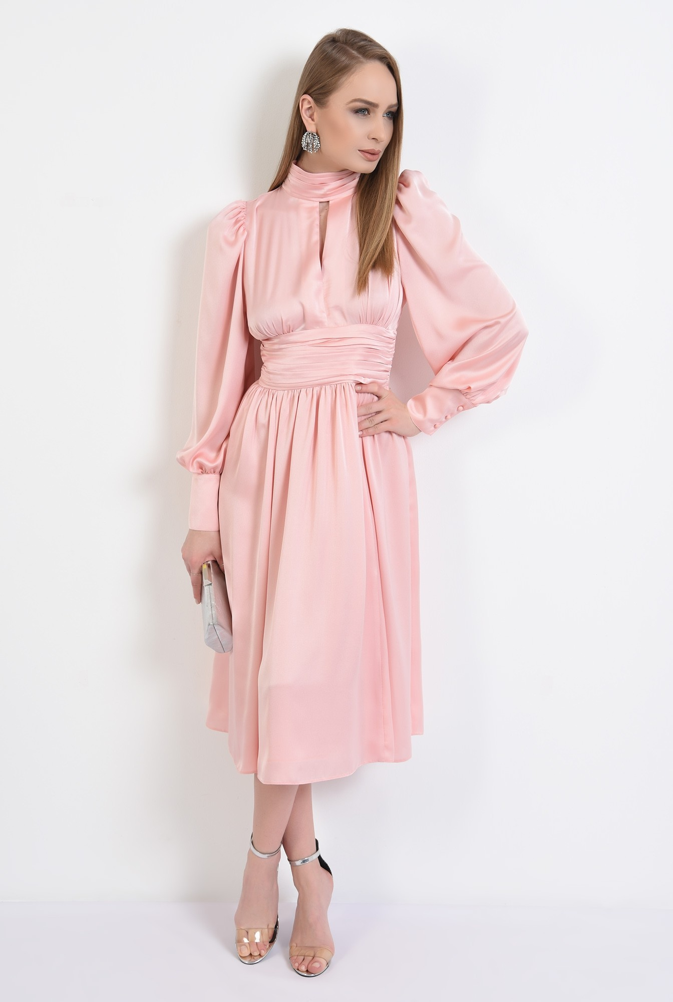 3 - 360 - rochie eleganta, din satin, evazata, midi, brau fronsat, roz