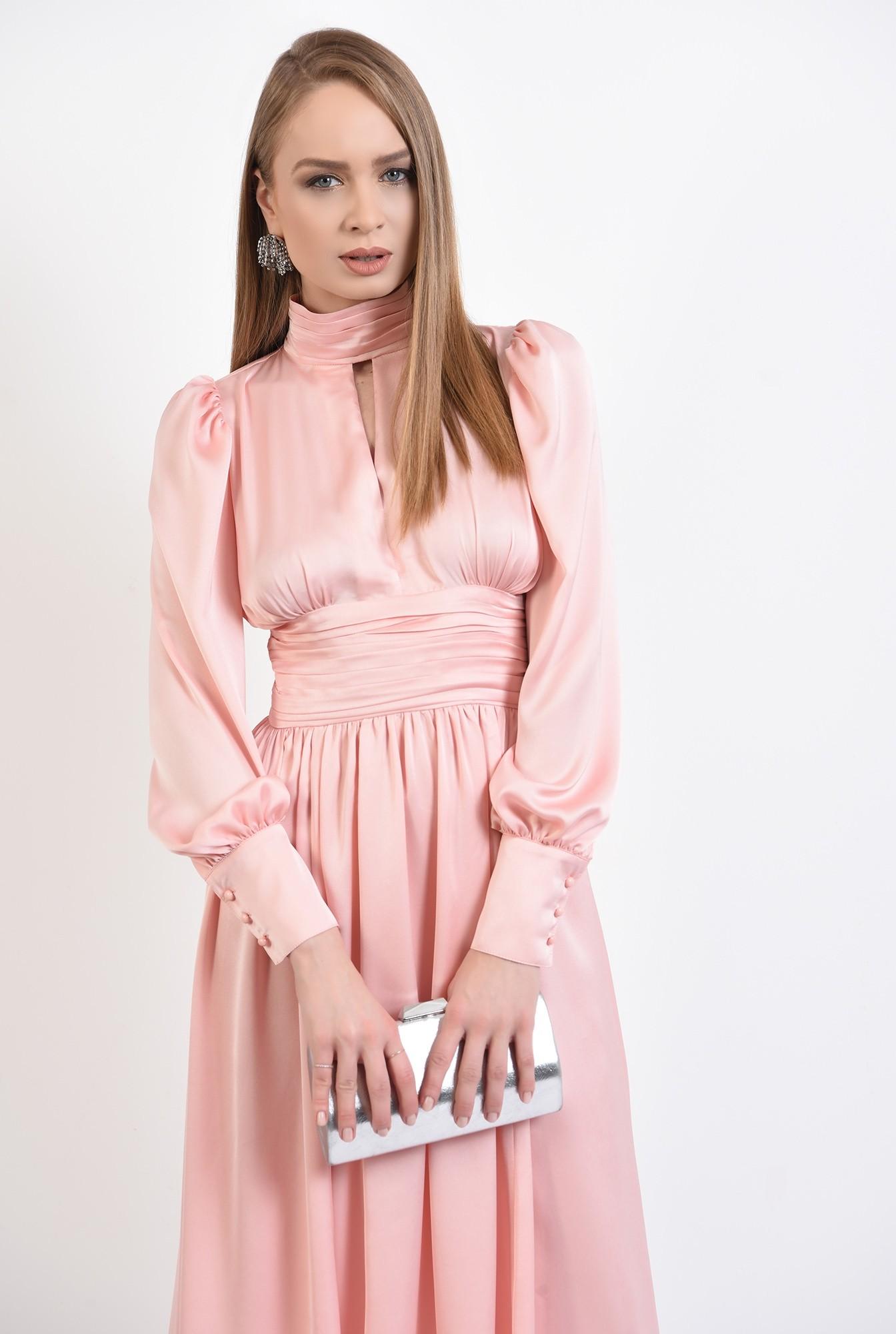 0 - 360 - rochie eleganta, din satin, evazata, midi, brau fronsat, roz
