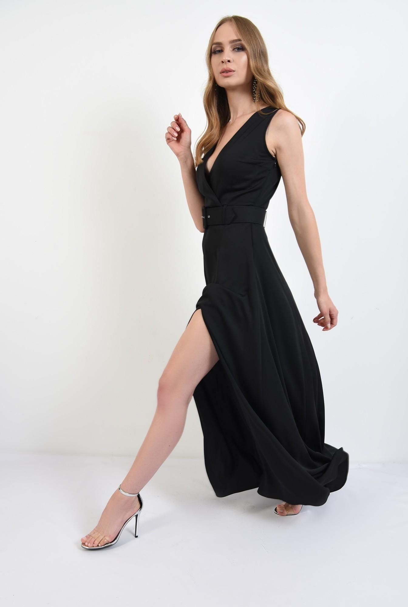 3 - 360 - rochie lunga, neagra, cu centura, Poema