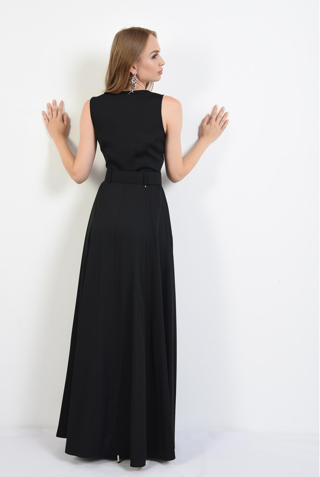 2 - 360 - rochie lunga, neagra, cu centura, Poema