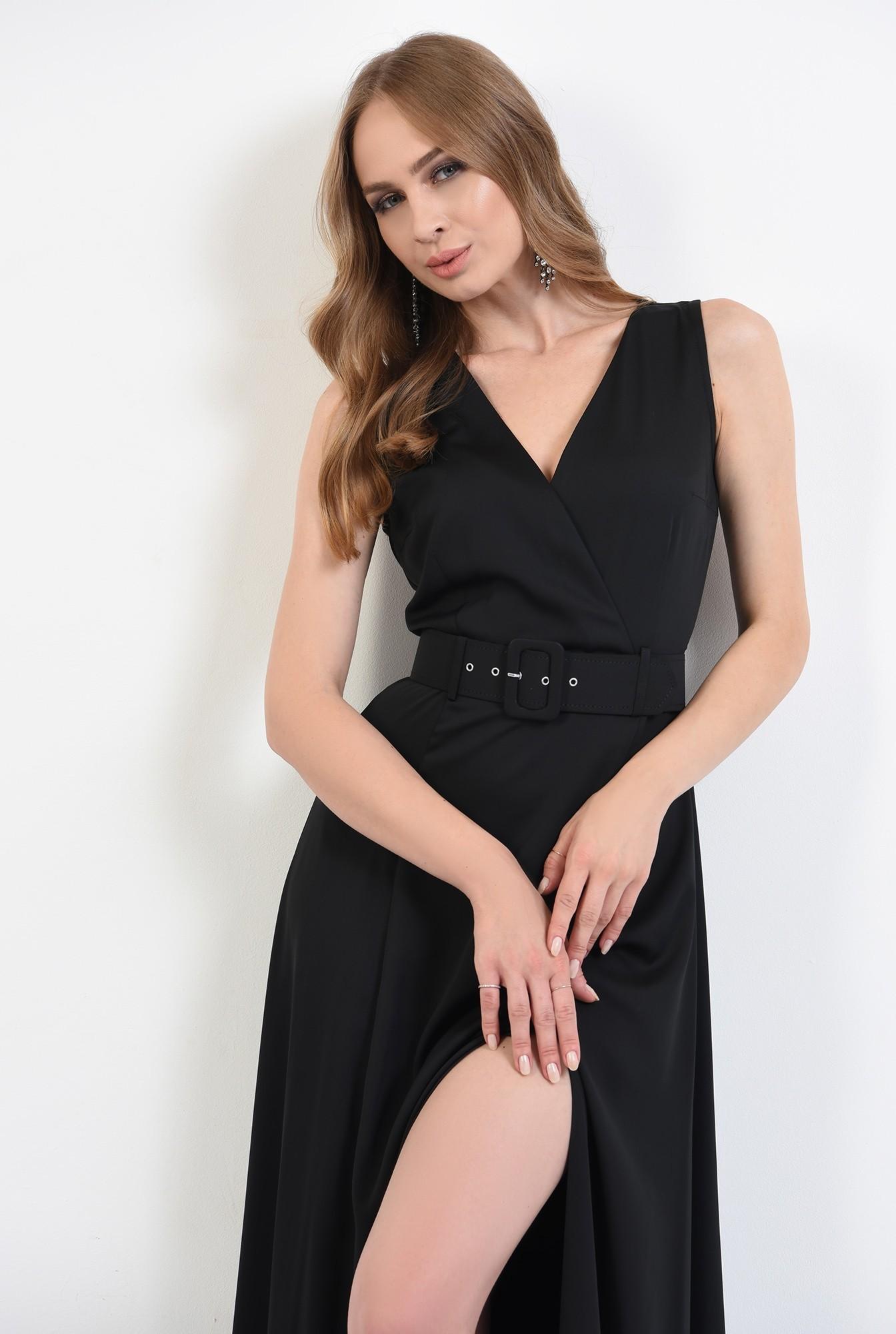 0 - 360 - rochie lunga, neagra, cu centura, Poema