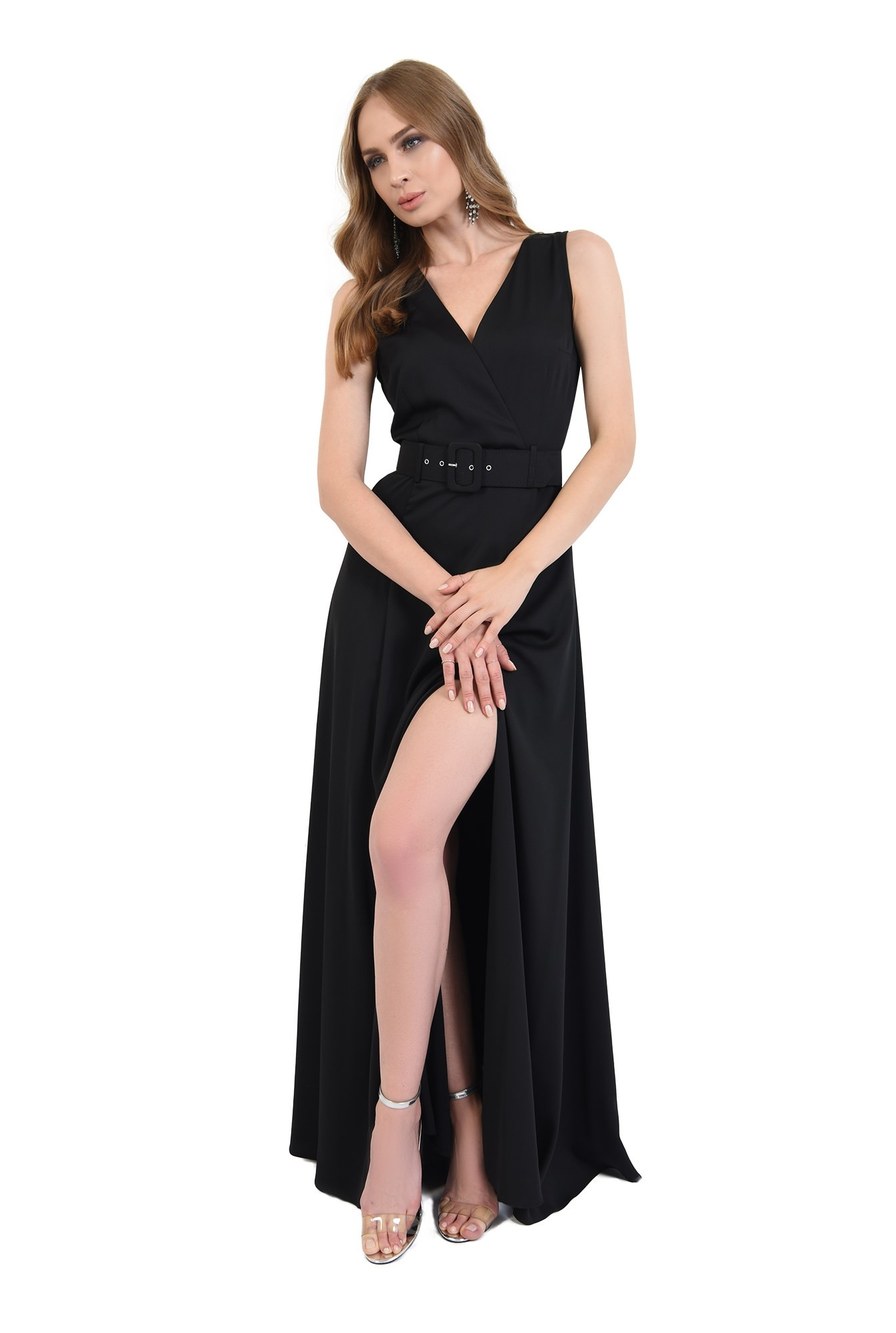 1 - 360 - rochie lunga, neagra, cu centura, Poema