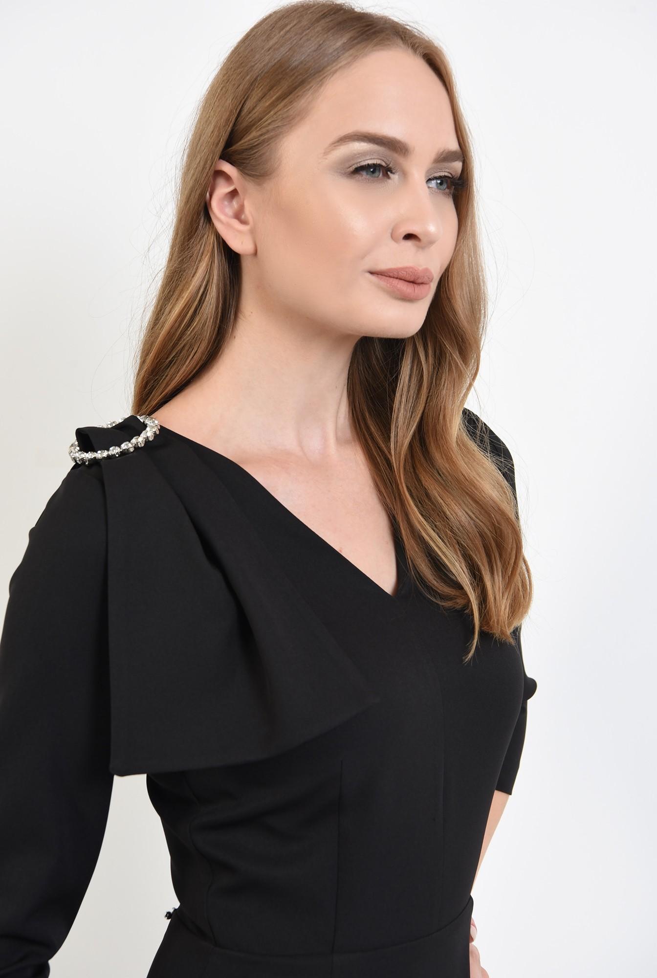 2 - 360 - rochie poema, negra, eleganta, cu funda