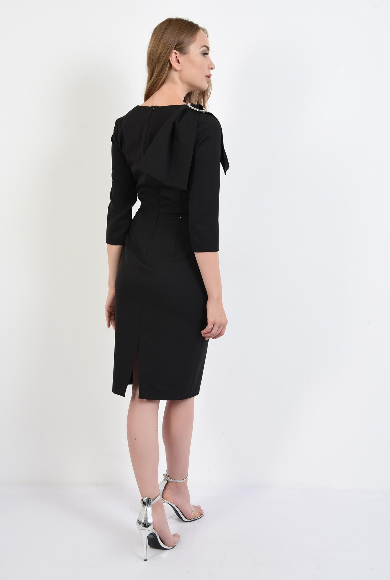 1 - 360 - rochie poema, negra, eleganta, cu funda