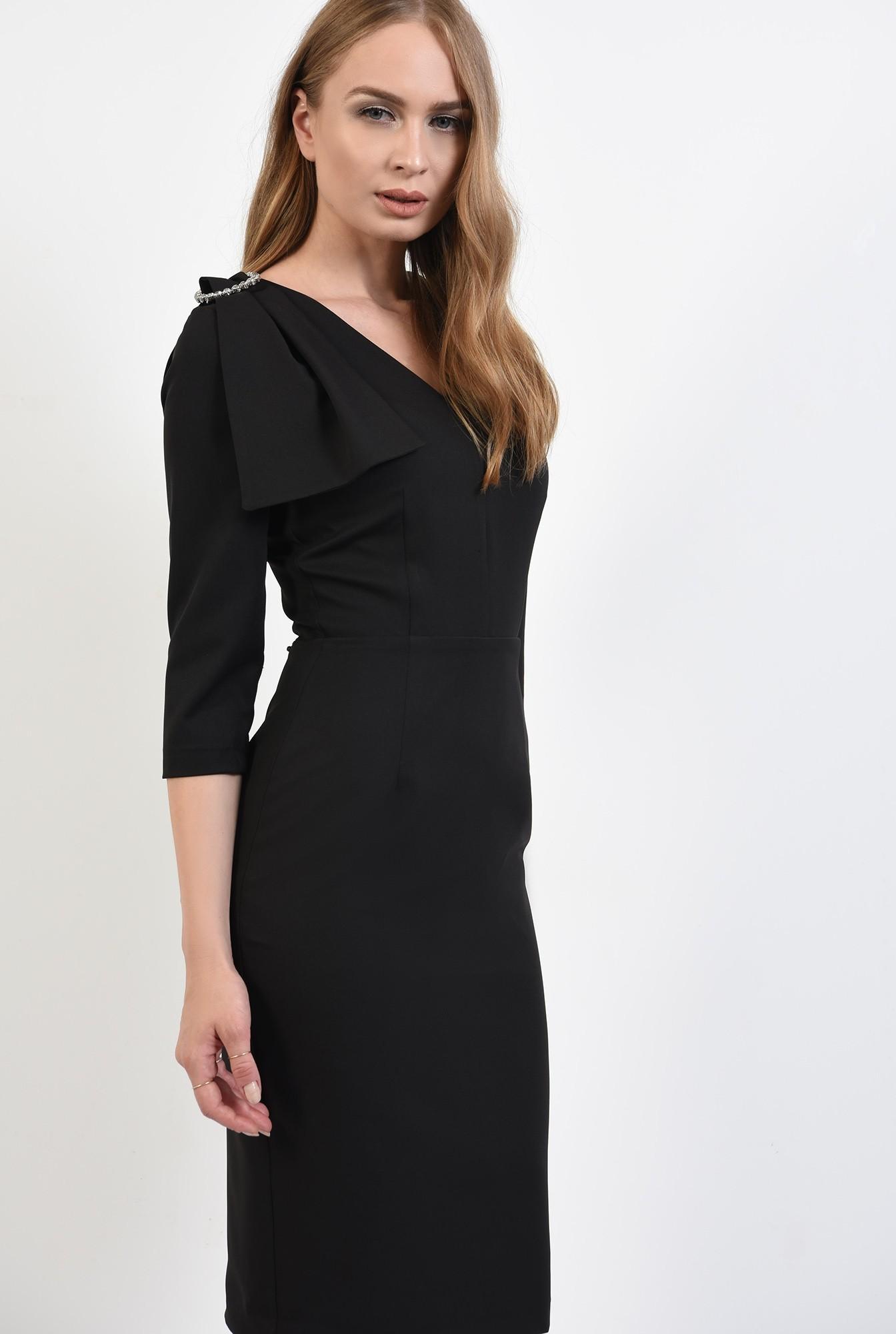 0 - 360 - rochie poema, negra, eleganta, cu funda