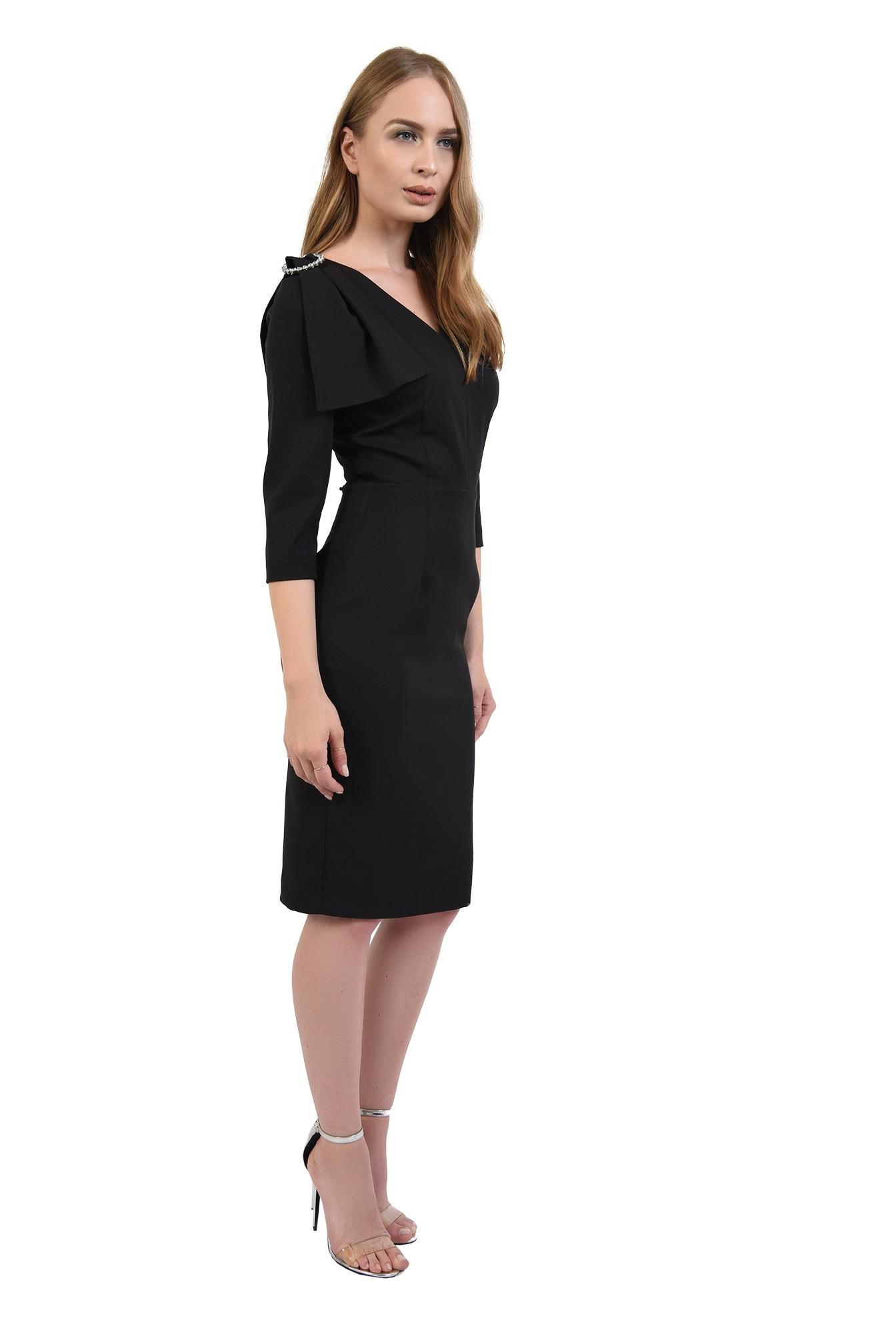 3 - 360 - rochie poema, negra, eleganta, cu funda
