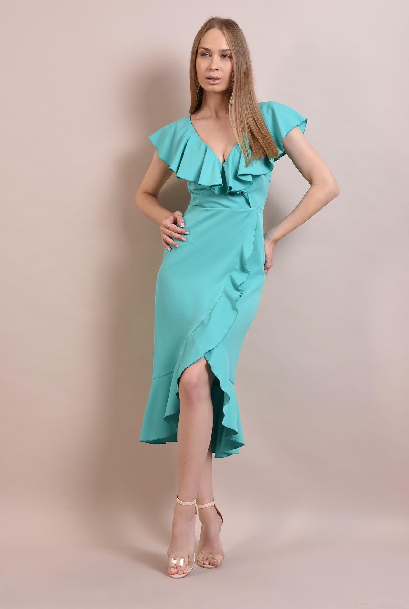 3 - rochie midi, eleganta, cu volane, cu anchior, rochie de ocazie