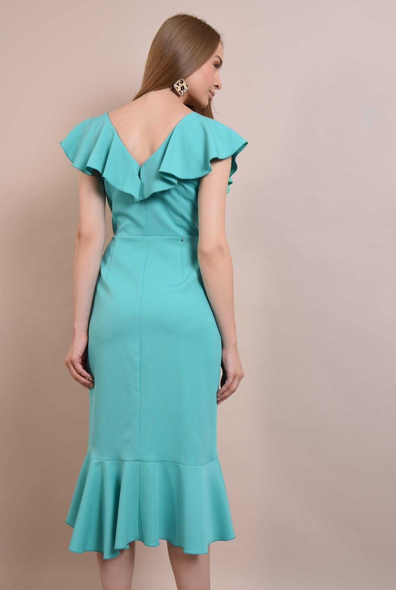1 - rochie midi, eleganta, cu volane, cu anchior, rochie de ocazie