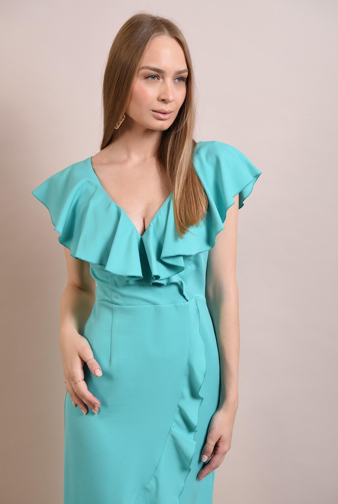 2 - rochie midi, eleganta, cu volane, cu anchior, rochie de ocazie
