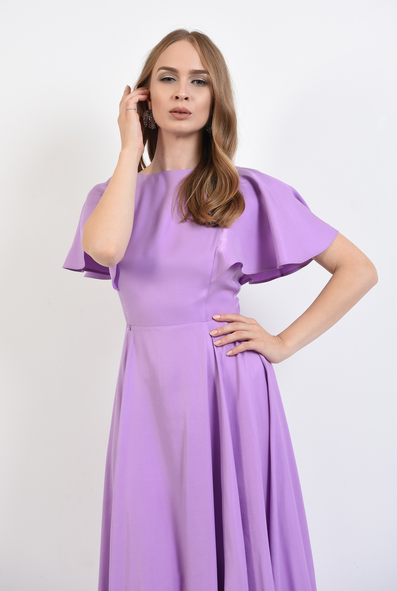2 - 360 - rochie eleganta, midi, lila, Poema