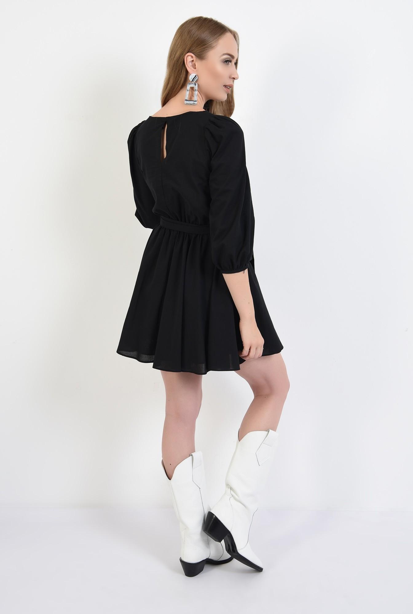 1 - 360 - rochie casual, clos, scurta, cu cordon, maneci bufante, neagra