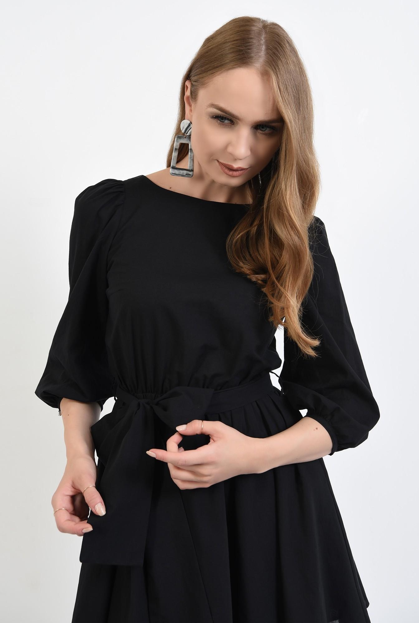 2 - 360 - rochie casual, clos, scurta, cu cordon, maneci bufante, neagra