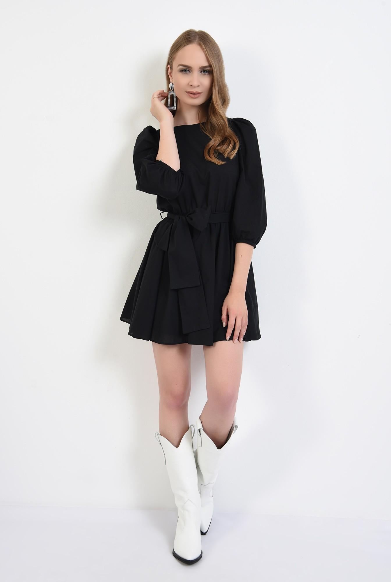 0 - 360 - rochie casual, clos, scurta, cu cordon, maneci bufante, neagra