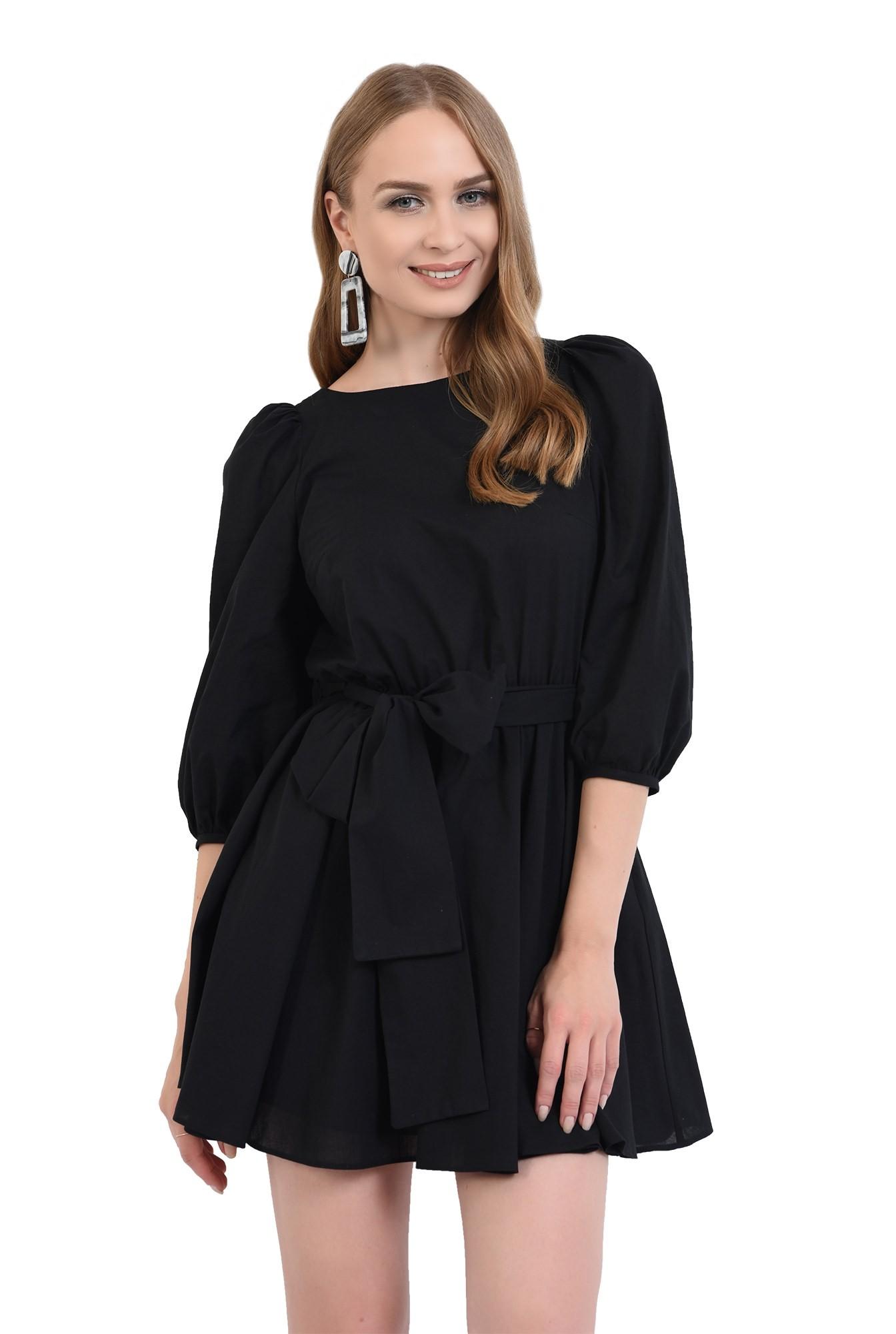 3 - 360 - rochie casual, clos, scurta, cu cordon, maneci bufante, neagra