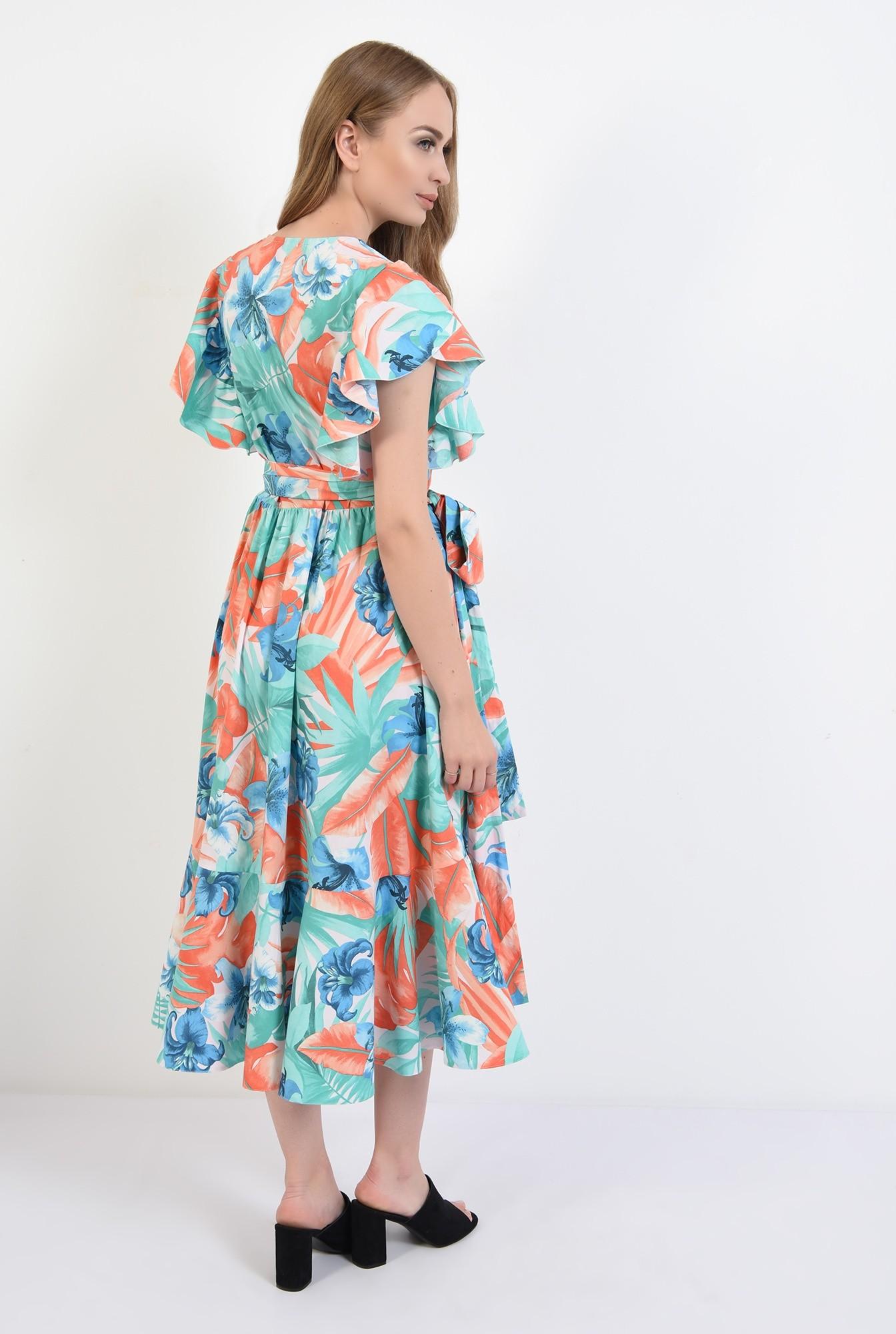 1 - 360 - rochie midi, petrecuta, cu imprimeu floral, Poema