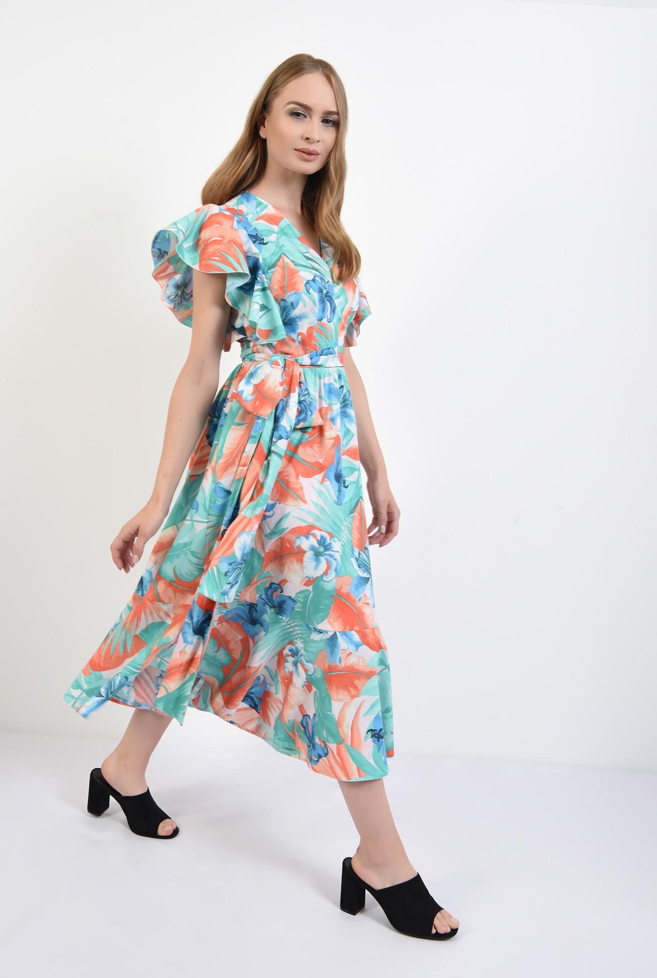 0 - 360 - rochie midi, petrecuta, cu imprimeu floral, Poema