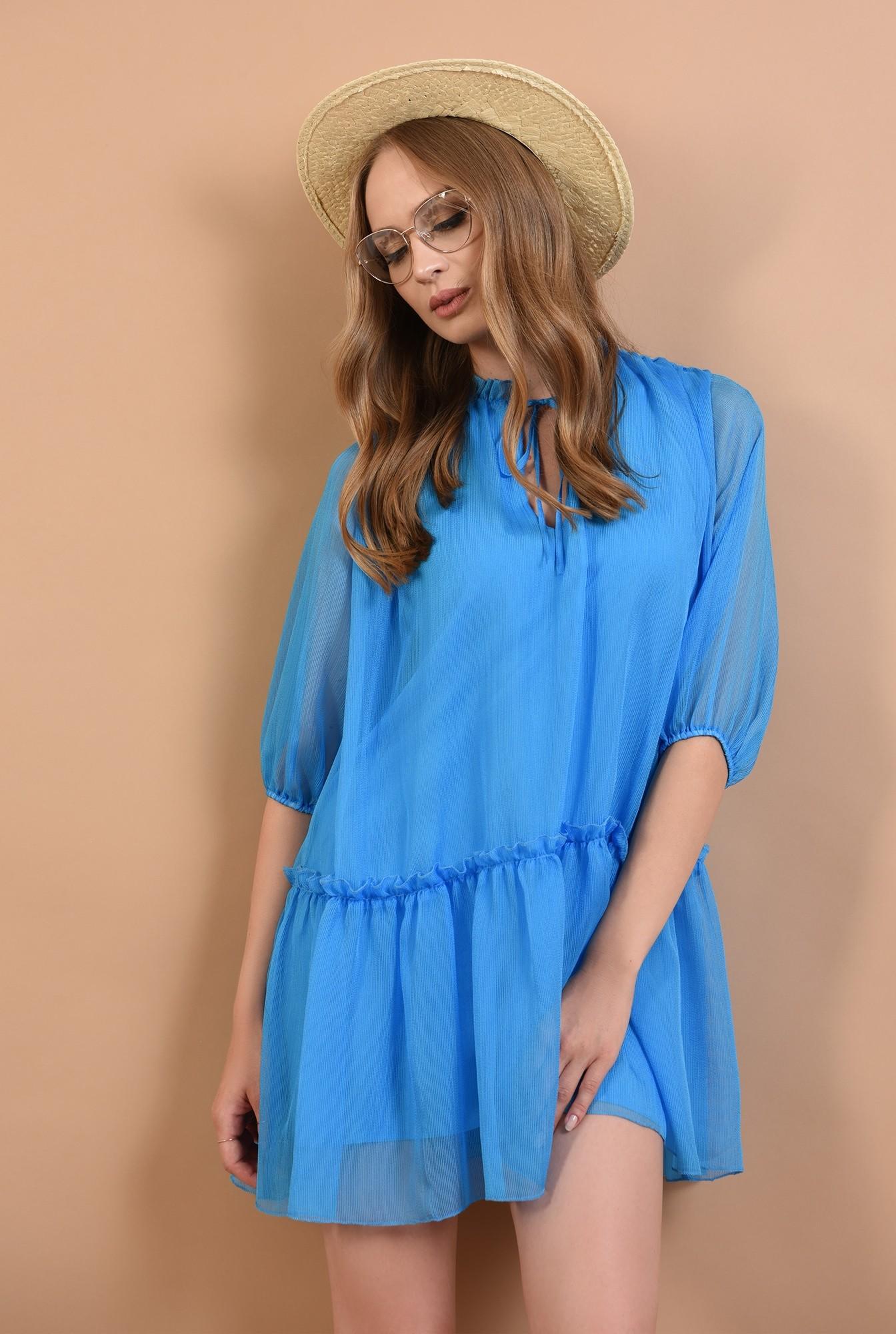 2 - 360 - rochie evazata, creponata, albastra, Poema