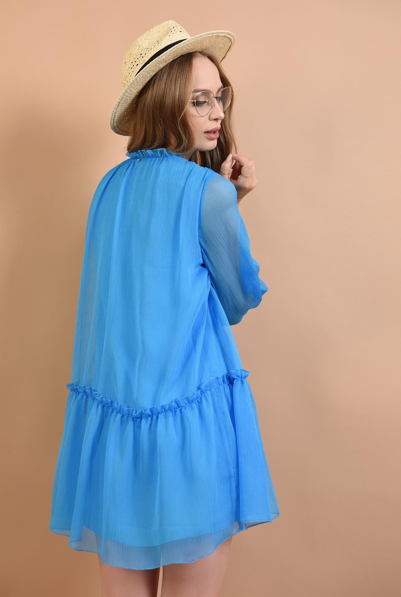 1 - 360 - rochie evazata, creponata, albastra, Poema
