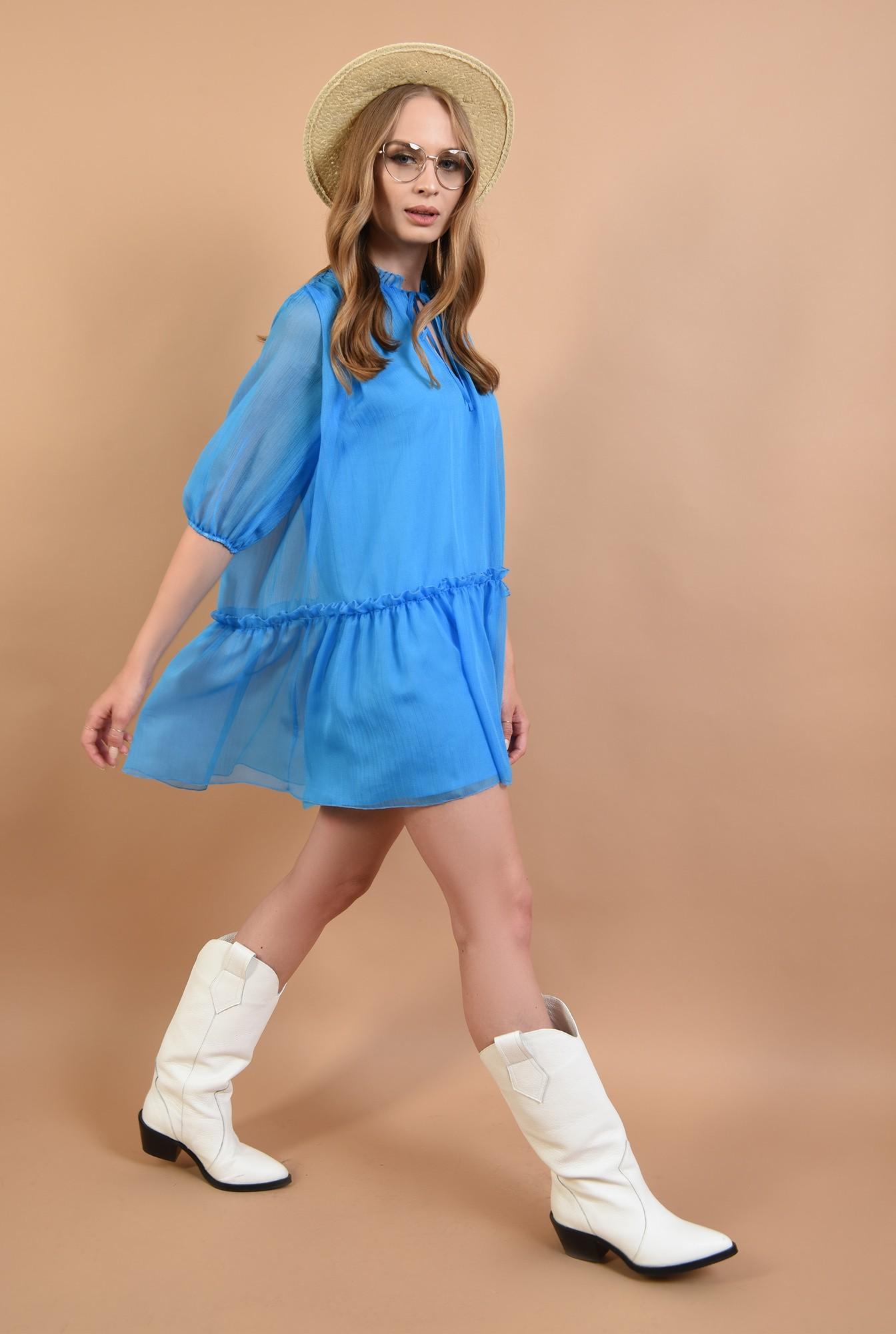 3 - 360 - rochie evazata, creponata, albastra, Poema