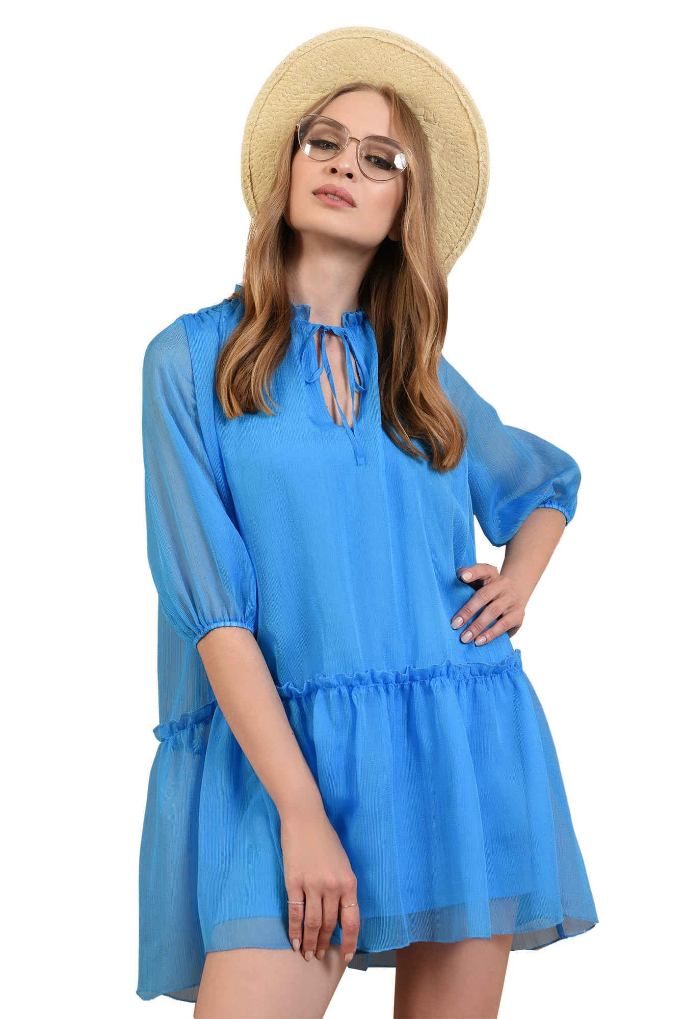 0 - 360 - rochie evazata, creponata, albastra, Poema