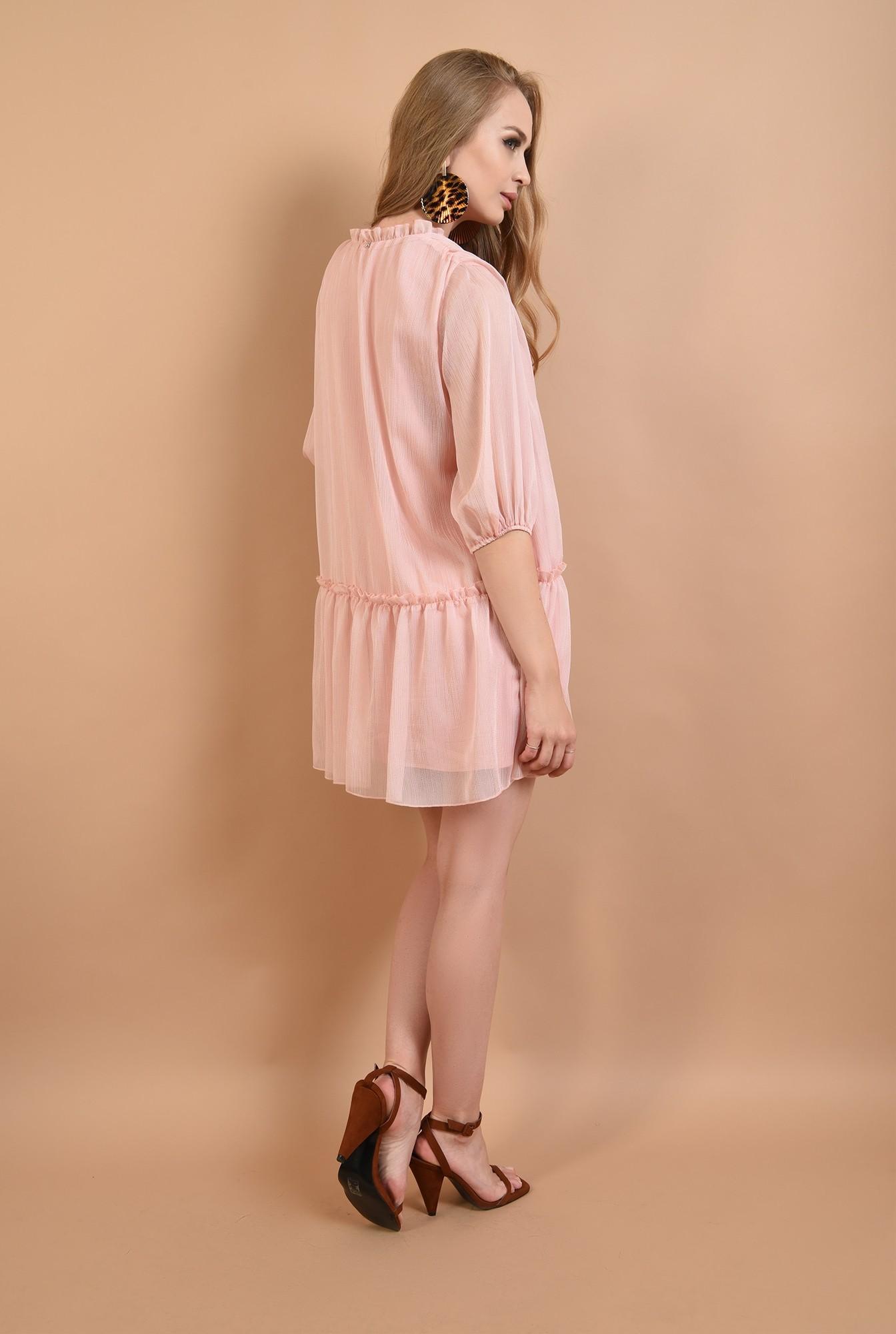 1 - 360 - rochie evazata, cu guler incretit, cu snur, roz, Poema